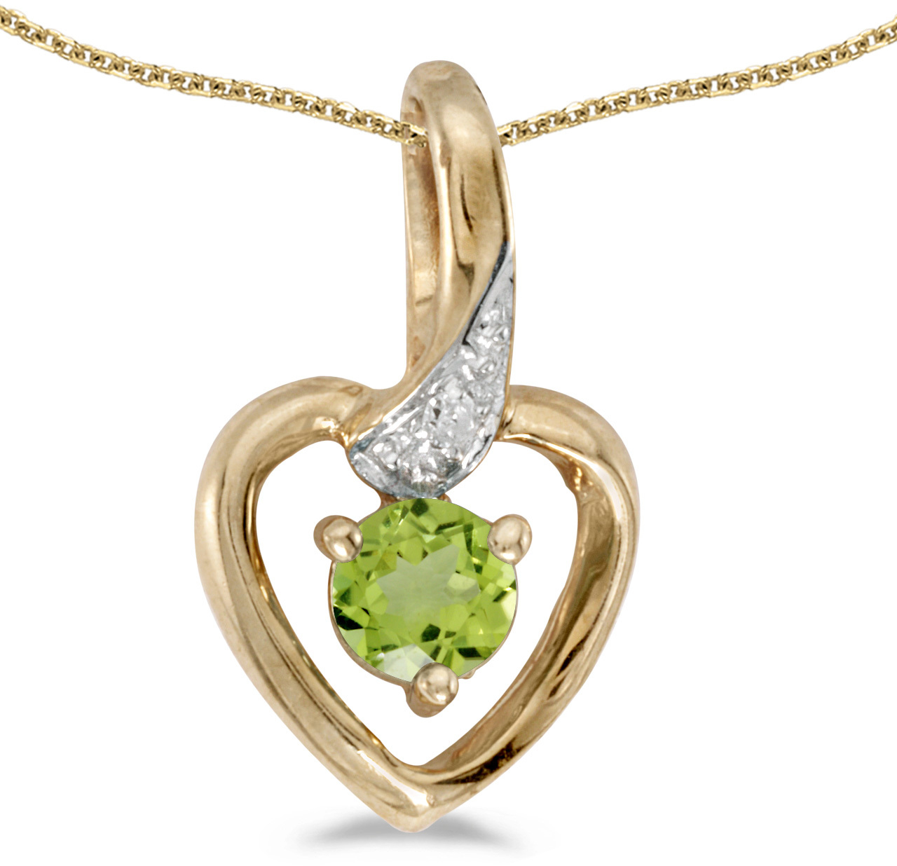 14k Yellow Gold Round Peridot And Diamond Heart Pendant (Chain NOT included)