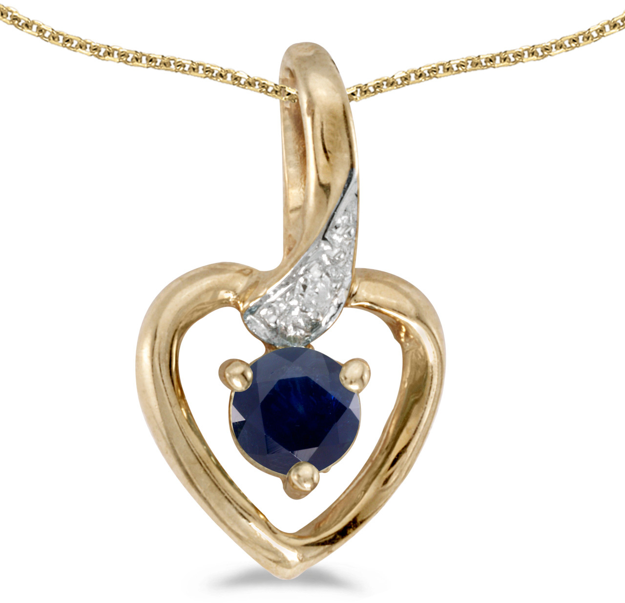 14k Yellow Gold Round Sapphire And Diamond Heart Pendant (Chain NOT included)