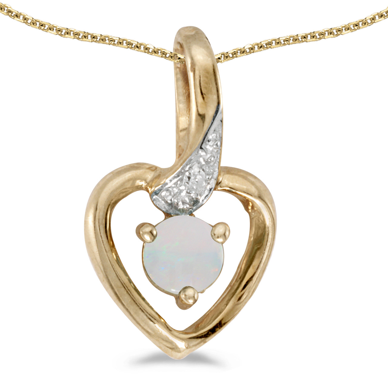 14k Yellow Gold Round Opal And Diamond Heart Pendant (Chain NOT included)