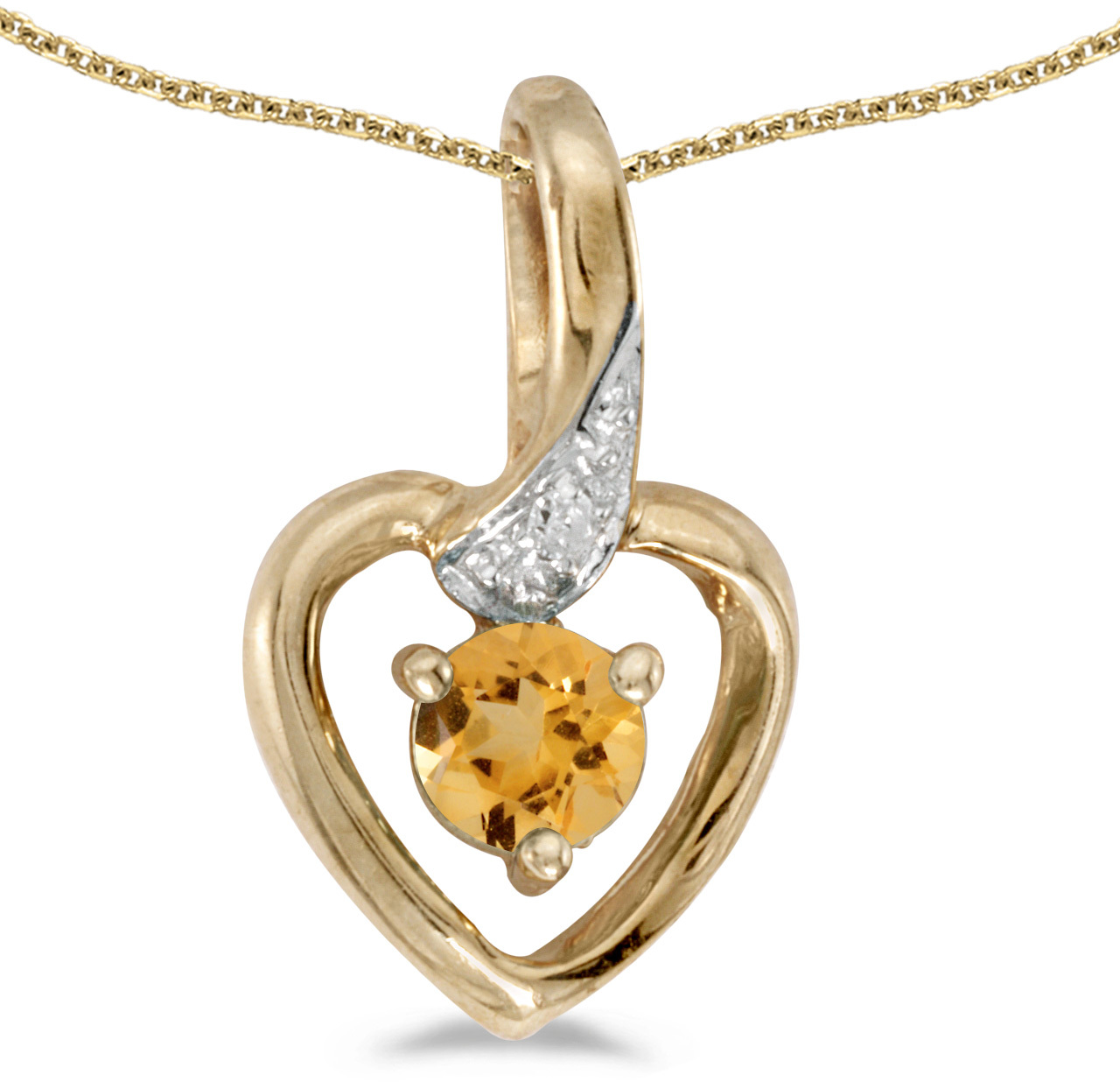 14k Yellow Gold Round Citrine And Diamond Heart Pendant (Chain NOT included)