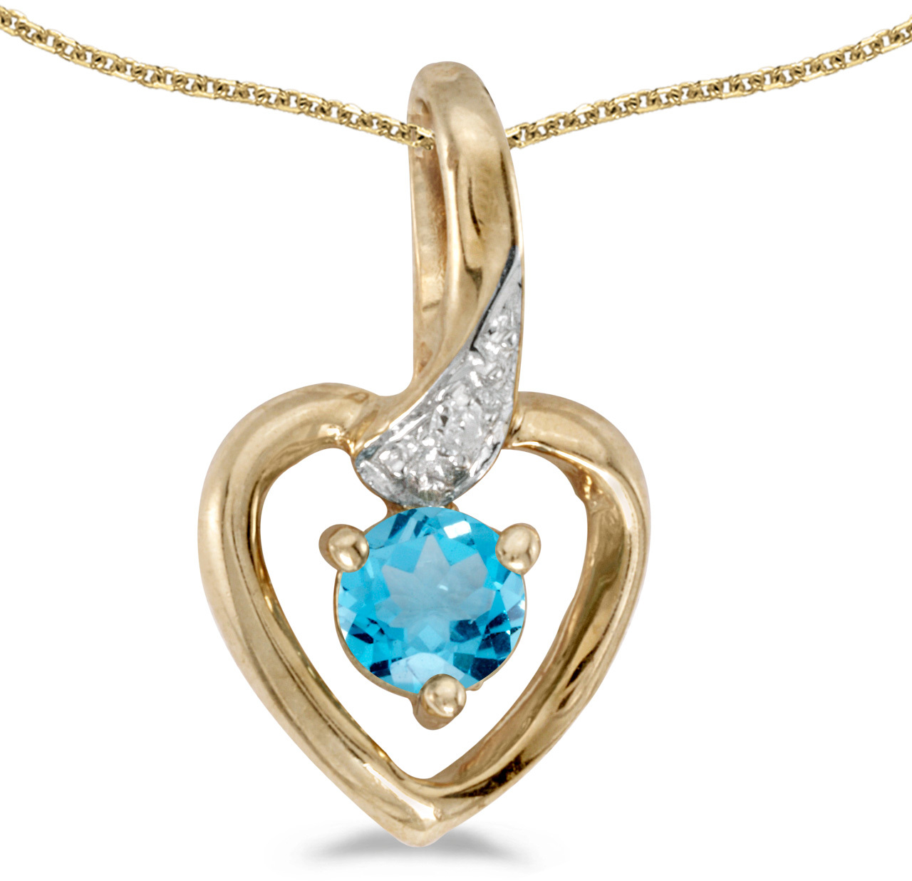14k Yellow Gold Round Blue Topaz And Diamond Heart Pendant (Chain NOT included)