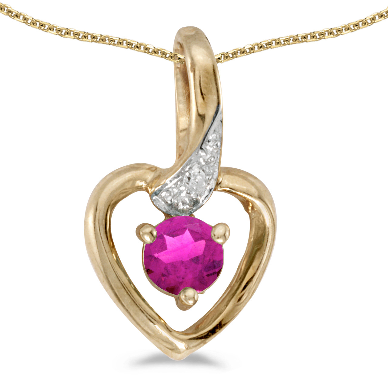 14k Yellow Gold Round Pink Topaz And Diamond Heart Pendant (Chain NOT included)