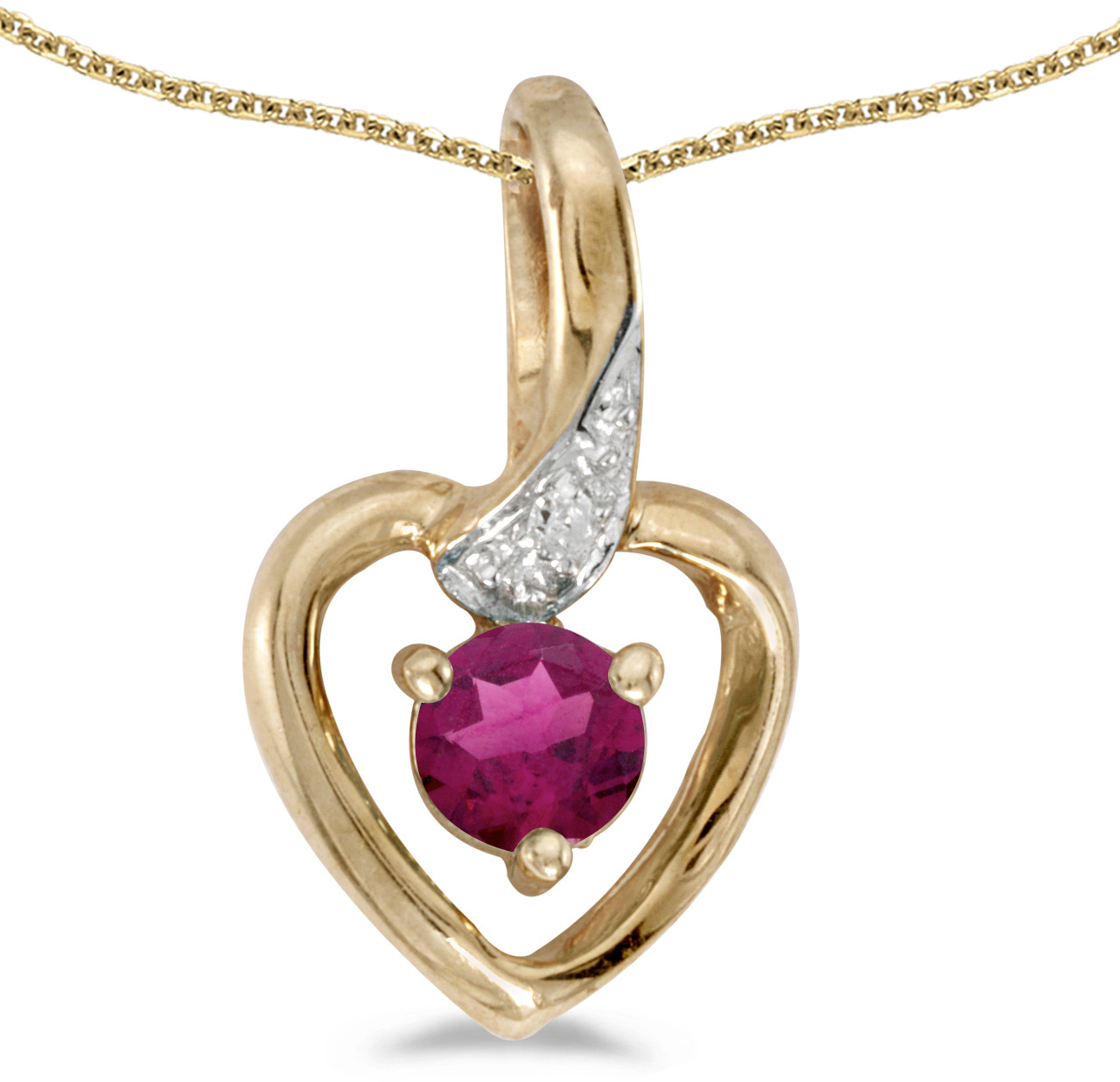 14k Yellow Gold Round Rhodolite Garnet And Diamond Heart Pendant (Chain NOT included)