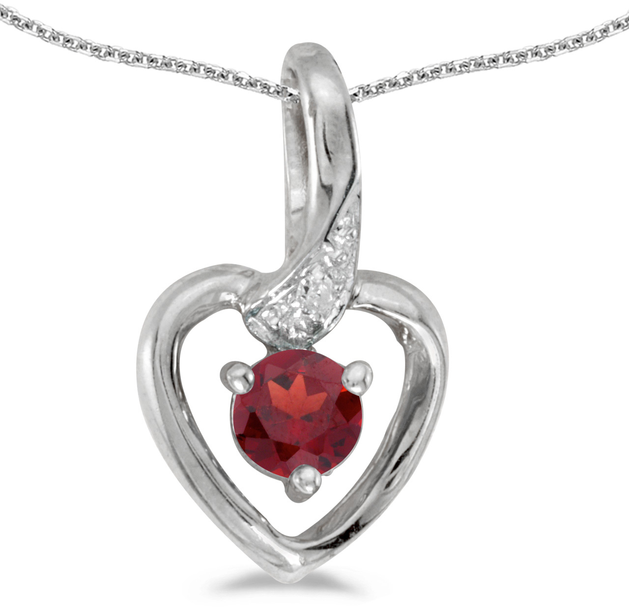 14k White Gold Round Garnet And Diamond Heart Pendant (Chain NOT included)