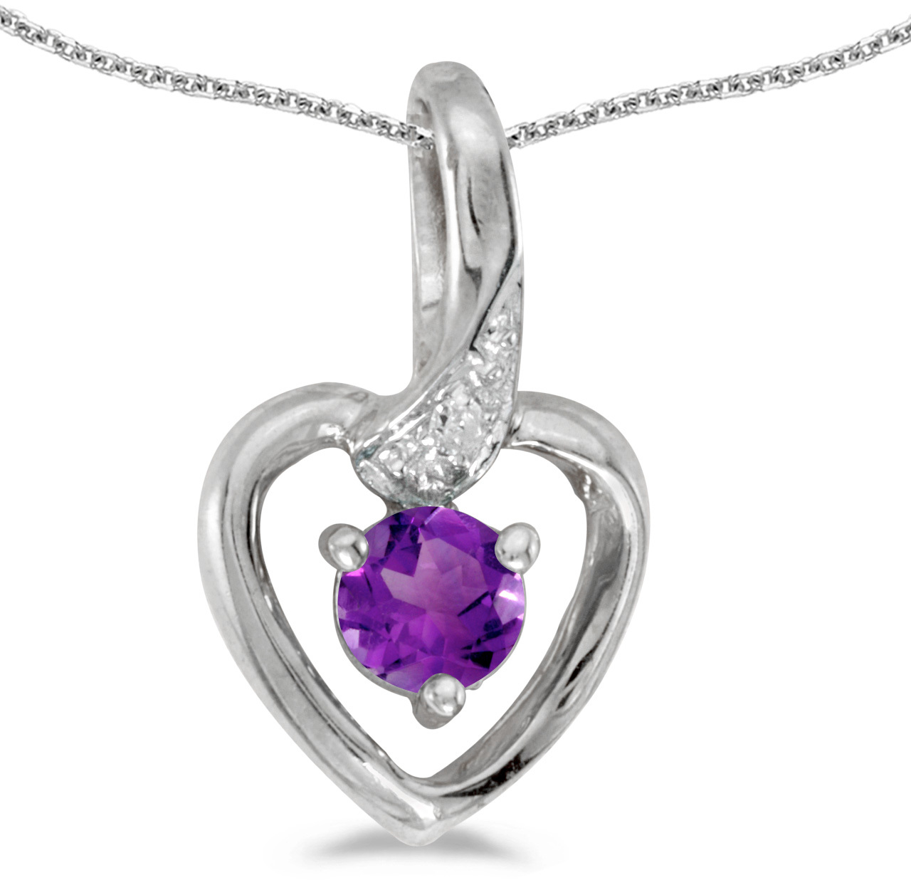 14k White Gold Round Amethyst And Diamond Heart Pendant (Chain NOT included)
