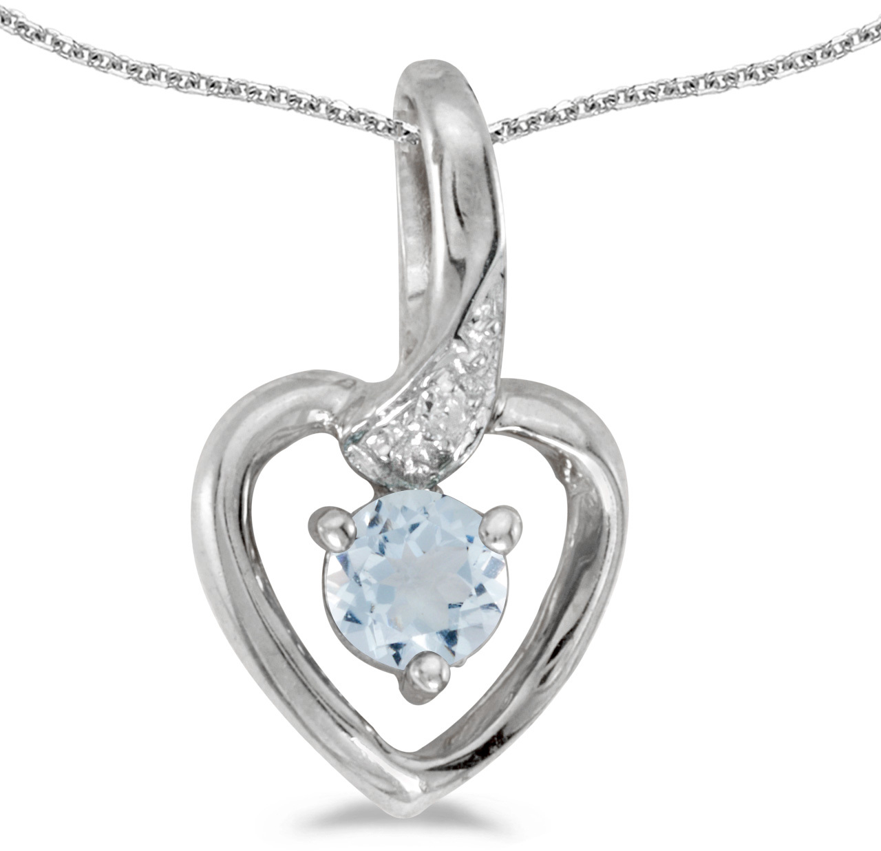 14k White Gold Round Aquamarine And Diamond Heart Pendant (Chain NOT included)