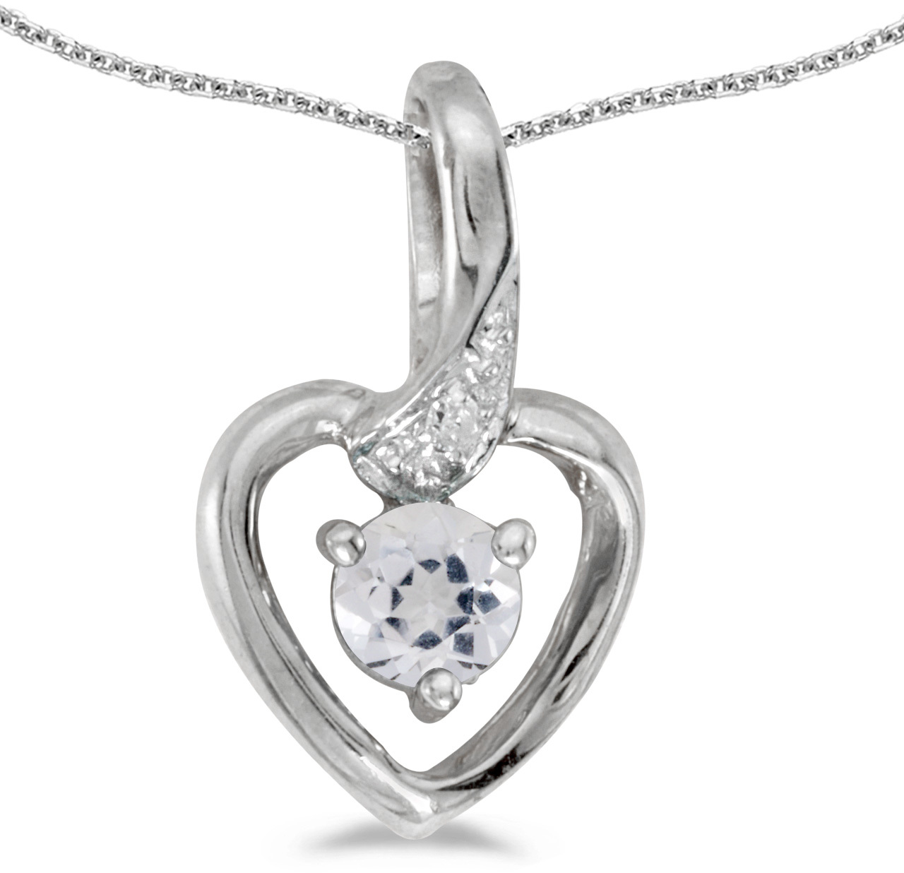 14k White Gold Round White Topaz And Diamond Heart Pendant (Chain NOT included)