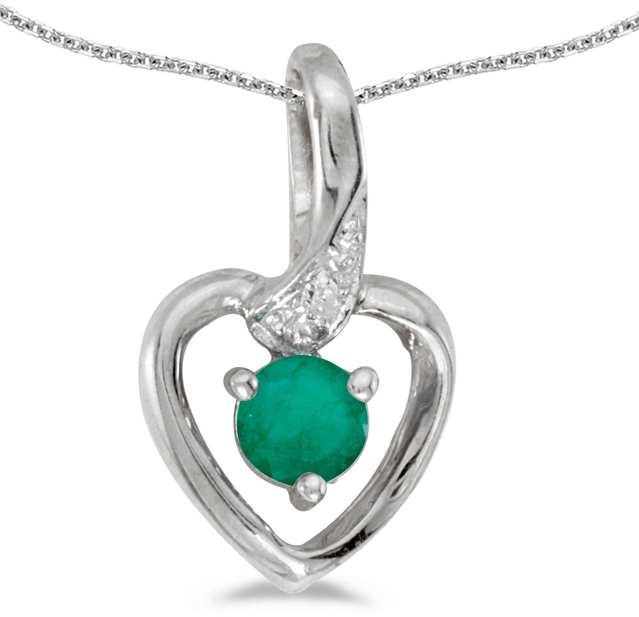 14k White Gold Round Emerald And Diamond Heart Pendant (Chain NOT included)