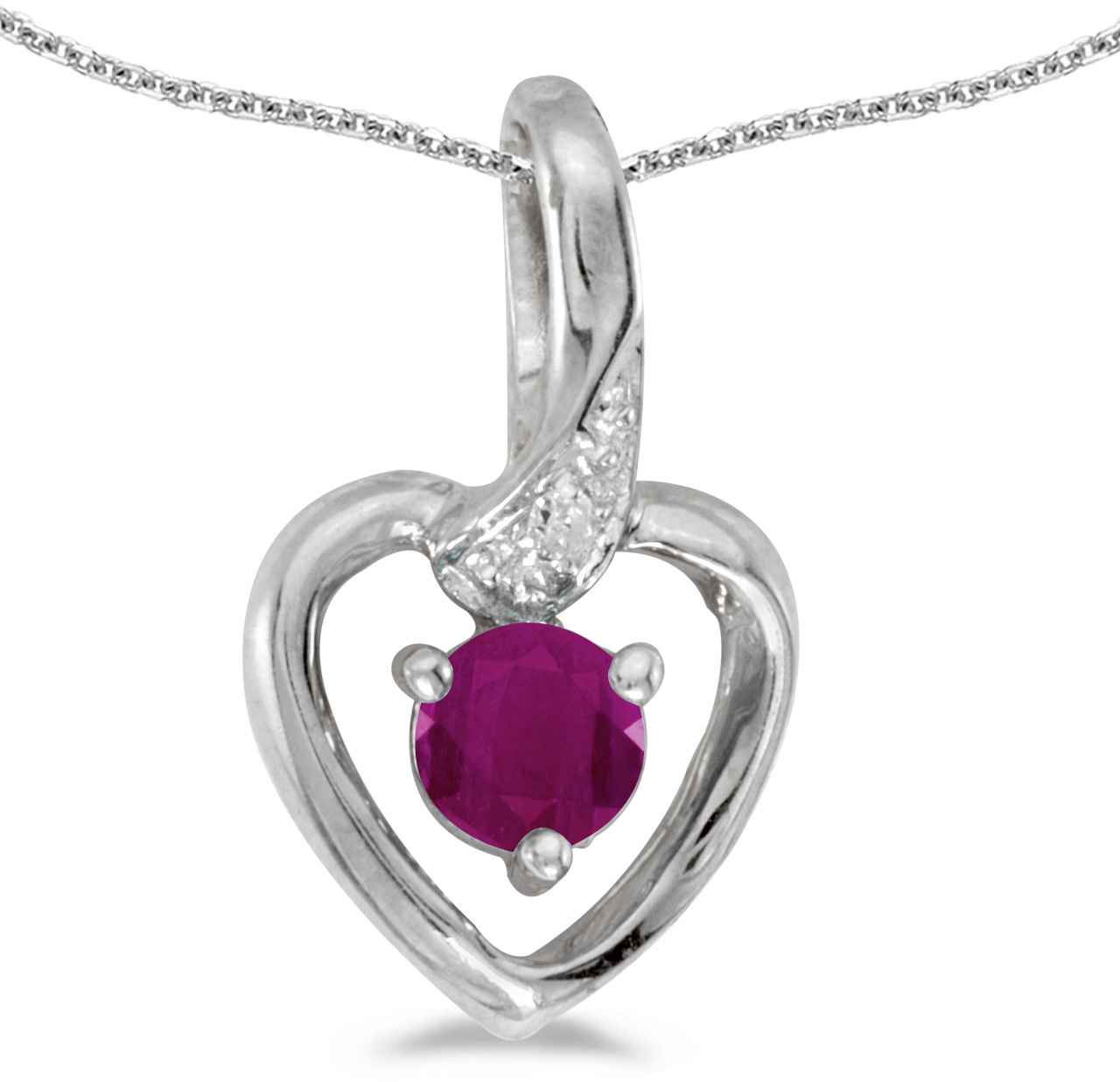 14k White Gold Round Ruby And Diamond Heart Pendant (Chain NOT included)