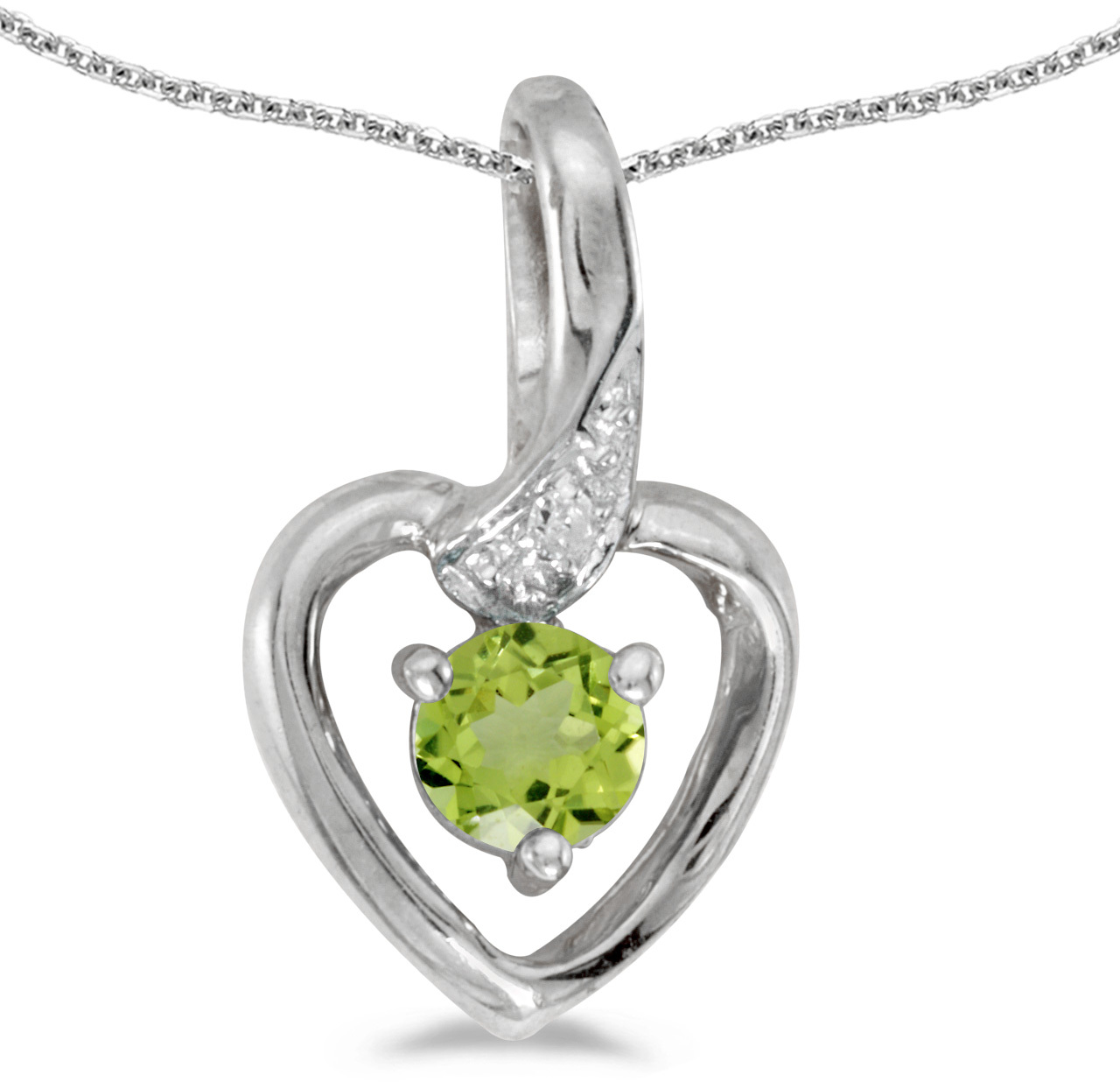 14k White Gold Round Peridot And Diamond Heart Pendant (Chain NOT included)