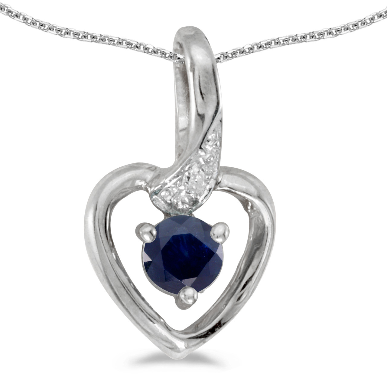 14k White Gold Round Sapphire And Diamond Heart Pendant (Chain NOT included)