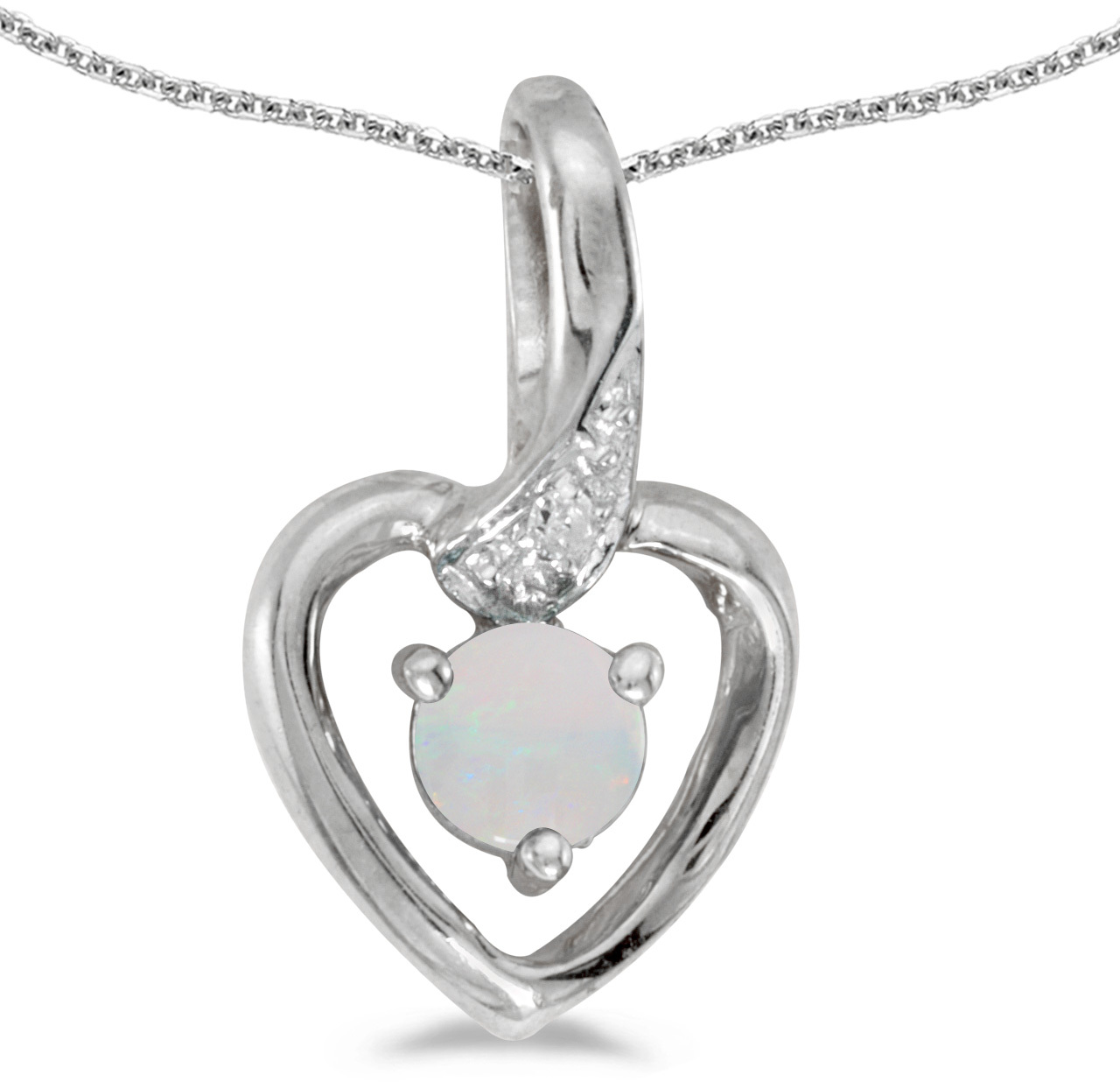 14k White Gold Round Opal And Diamond Heart Pendant (Chain NOT included)