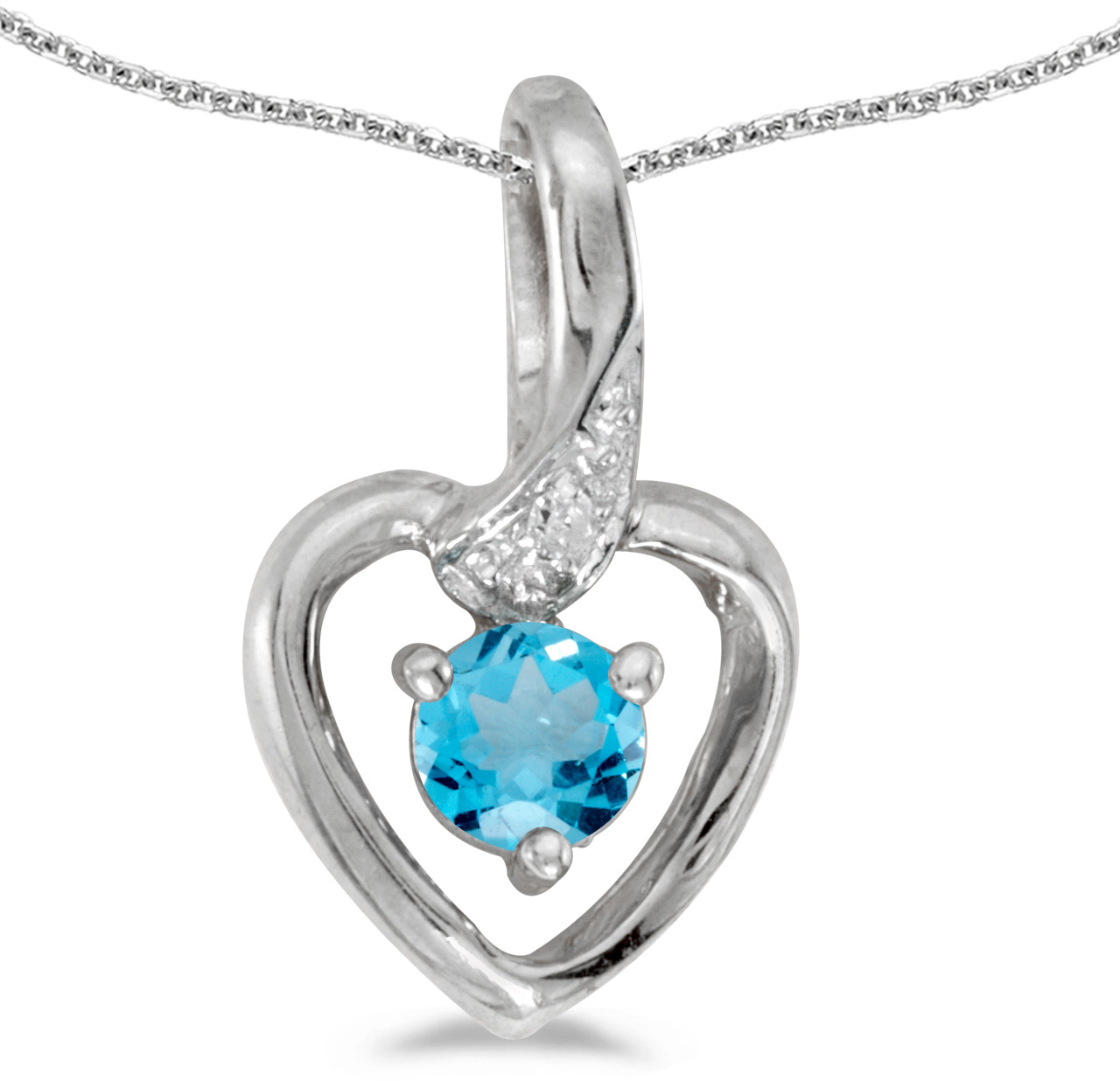 14k White Gold Round Blue Topaz And Diamond Heart Pendant (Chain NOT included)