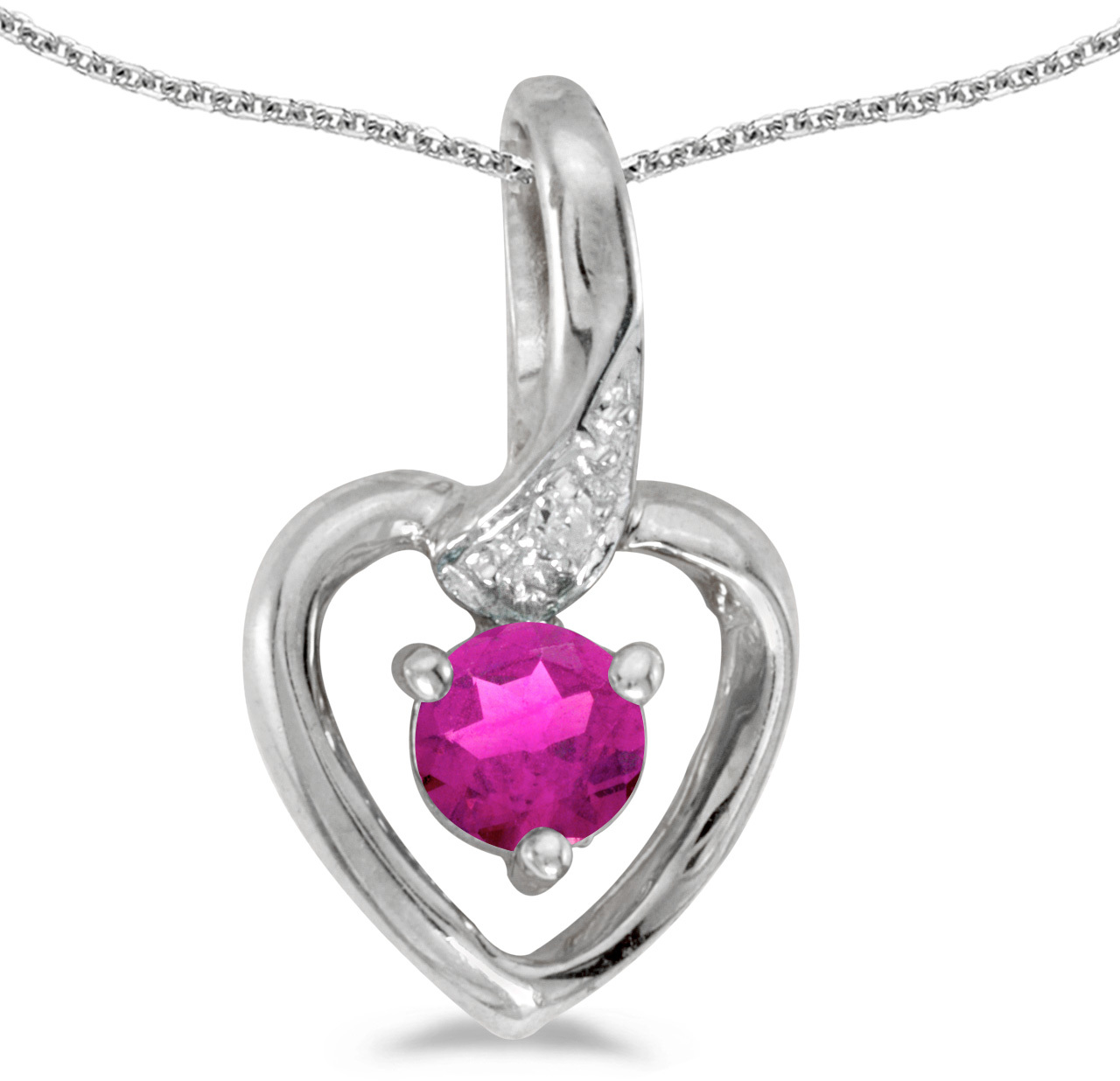 14k White Gold Round Pink Topaz And Diamond Heart Pendant (Chain NOT included)