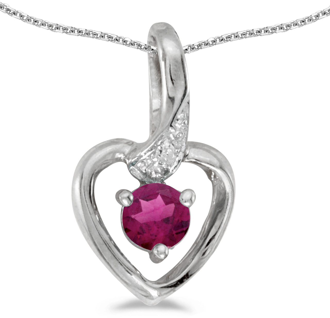 14k White Gold Round Rhodolite Garnet And Diamond Heart Pendant (Chain NOT included)