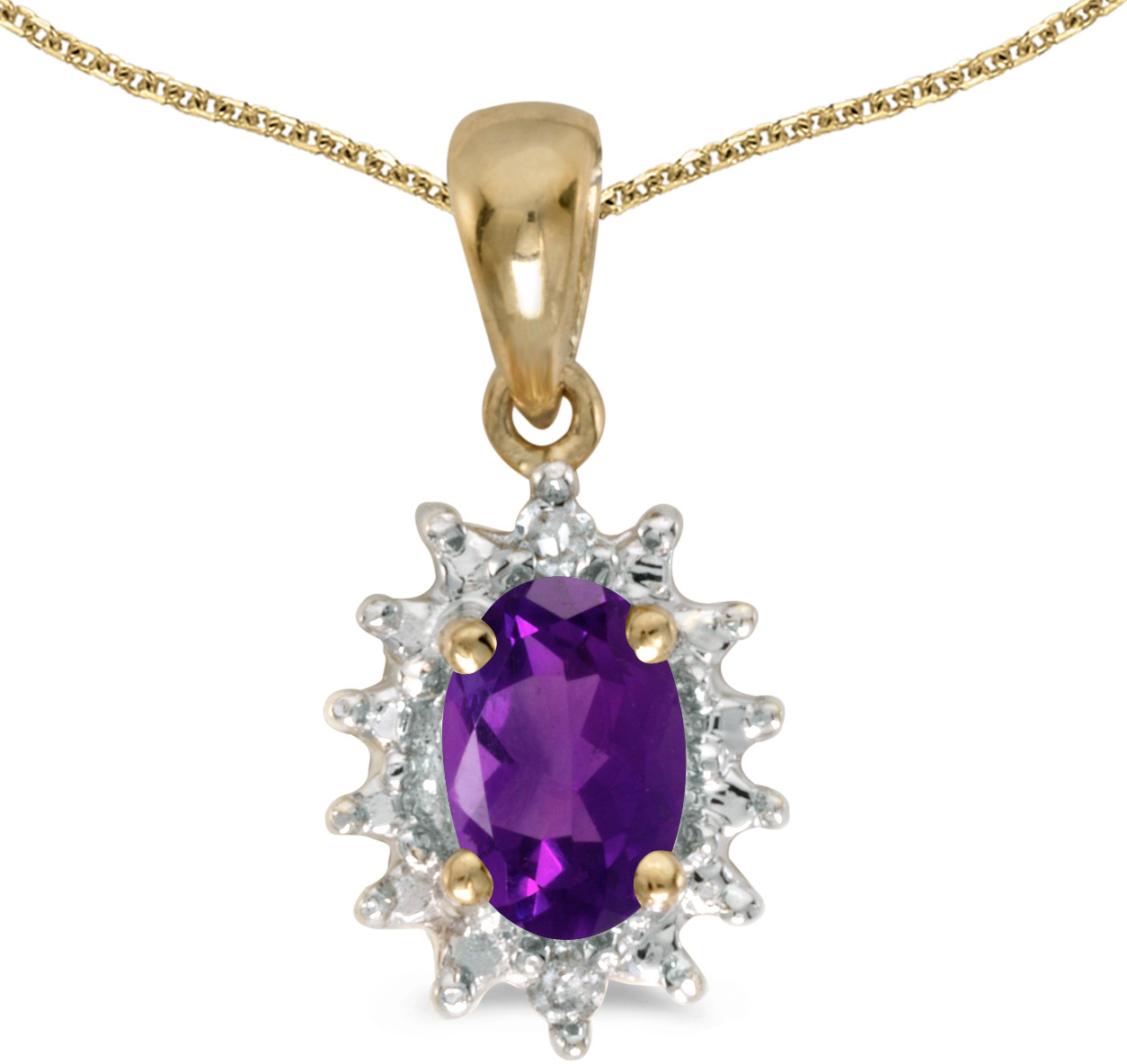 14k Yellow Gold Oval Amethyst And Diamond Pendant (Chain NOT included) (CM-P1342X-02)
