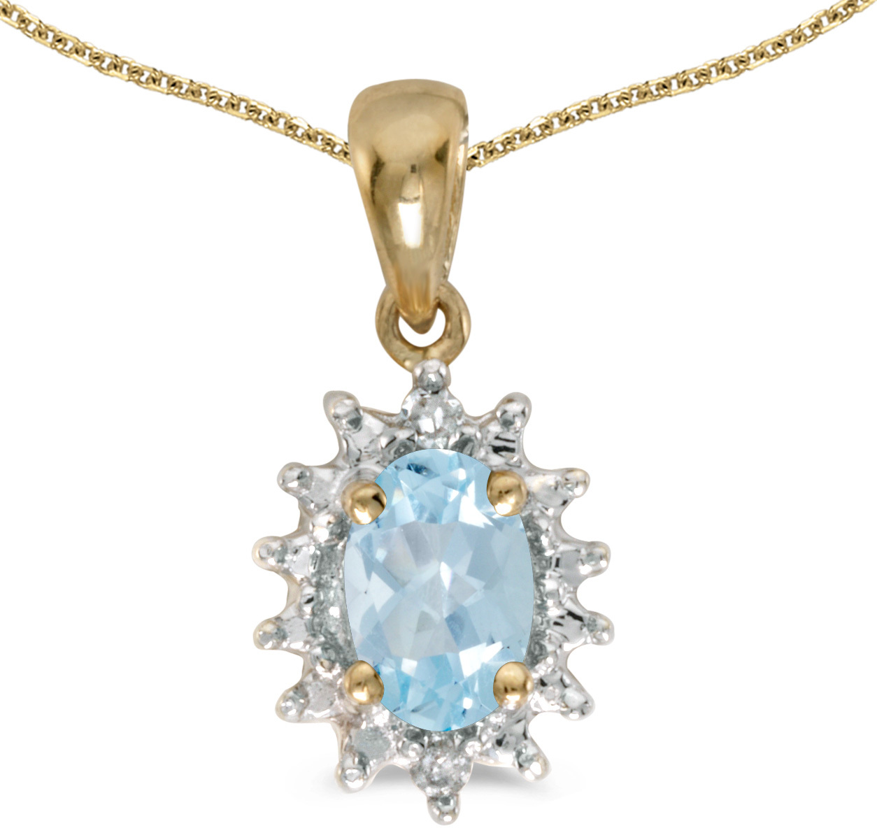 14k Yellow Gold Oval Aquamarine And Diamond Pendant (Chain NOT included) (CM-P1342X-03)