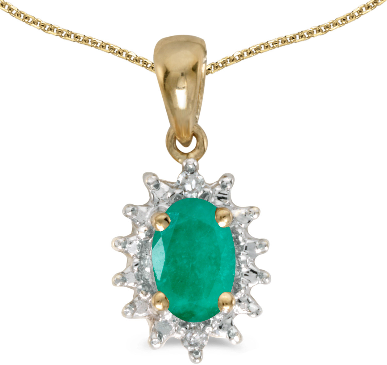 14k Yellow Gold Oval Emerald And Diamond Pendant (Chain NOT included) (CM-P1342X-05)