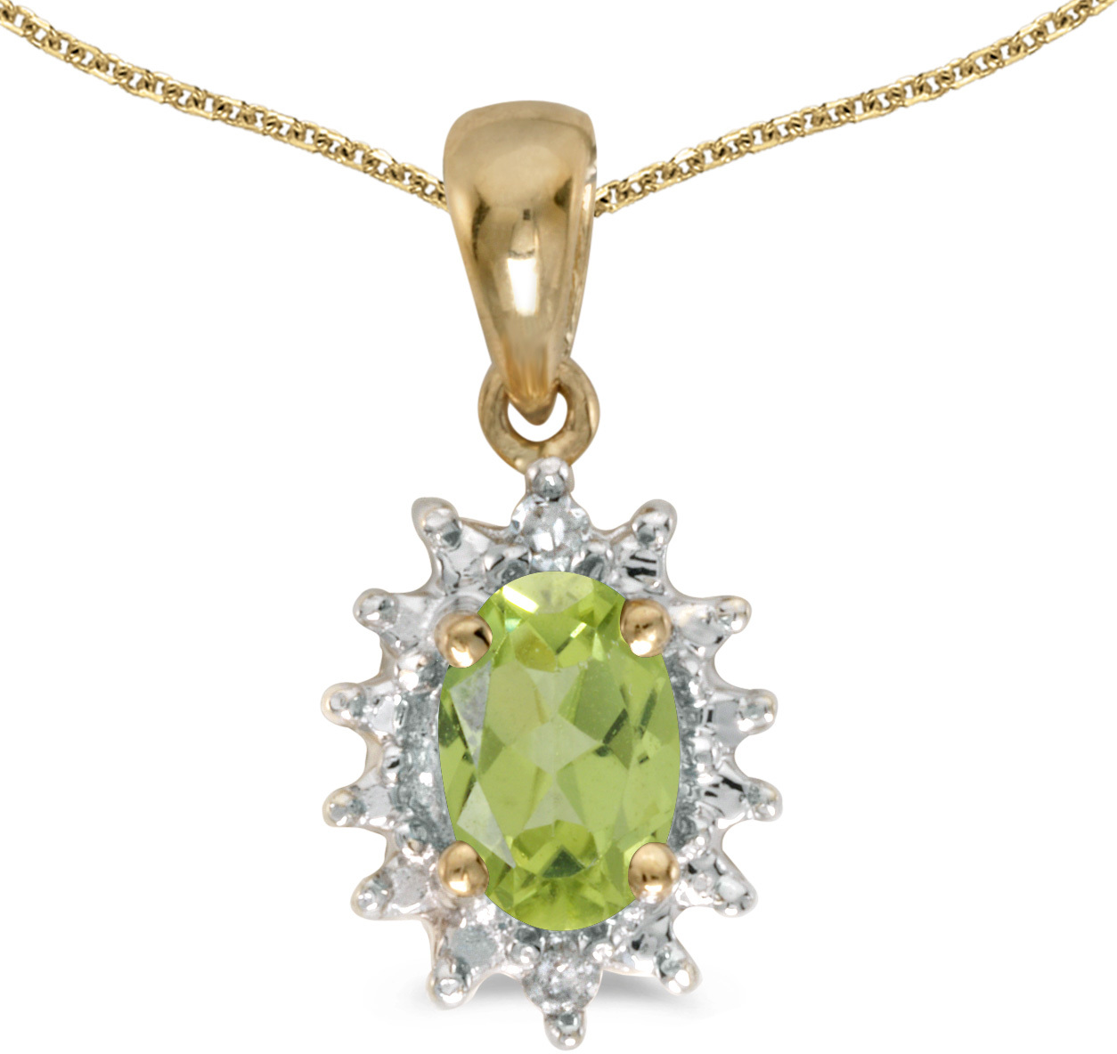 14k Yellow Gold Oval Peridot And Diamond Pendant (Chain NOT included) (CM-P1342X-08)