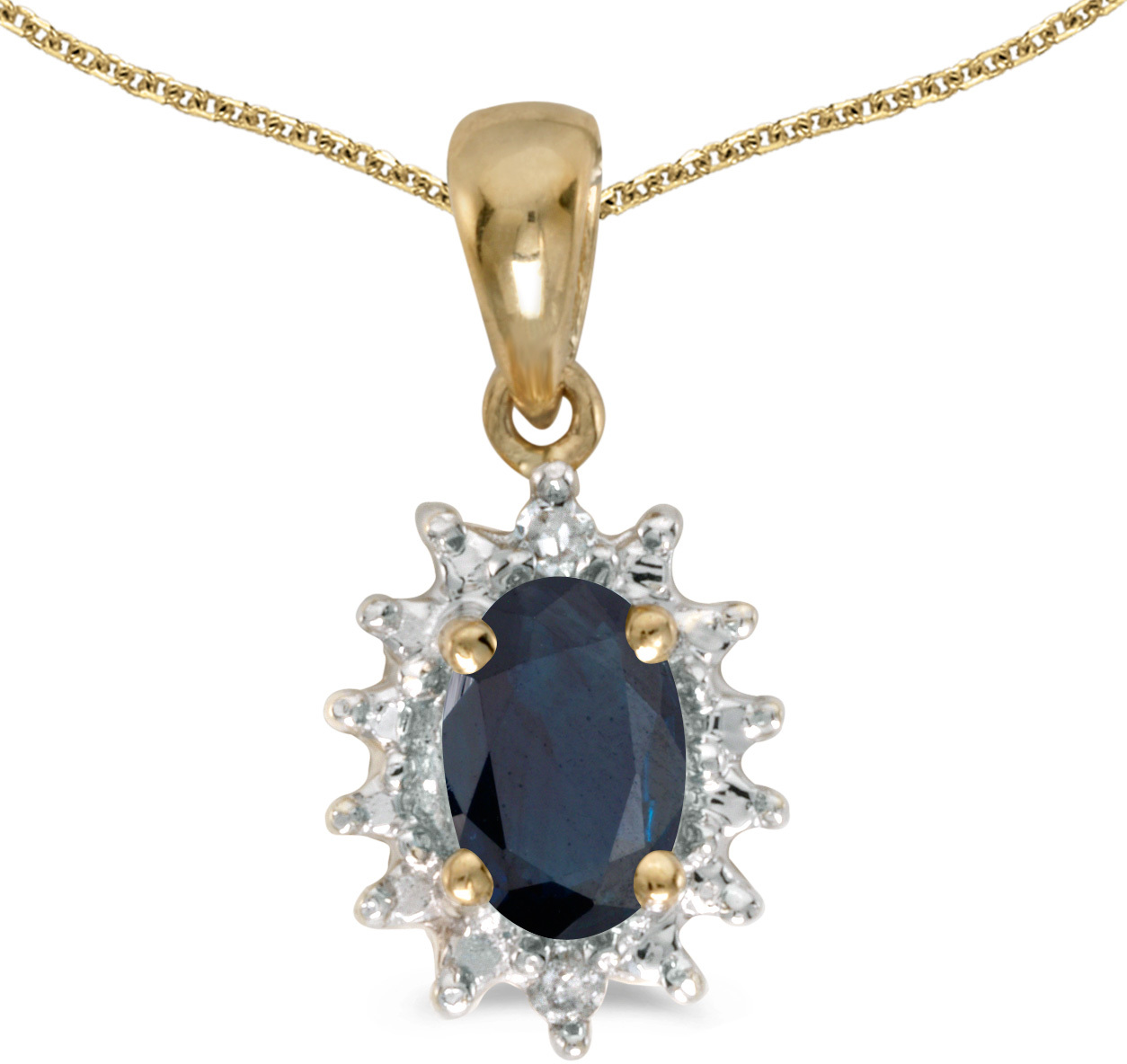 14k Yellow Gold Oval Sapphire And Diamond Pendant (Chain NOT included) (CM-P1342X-09)