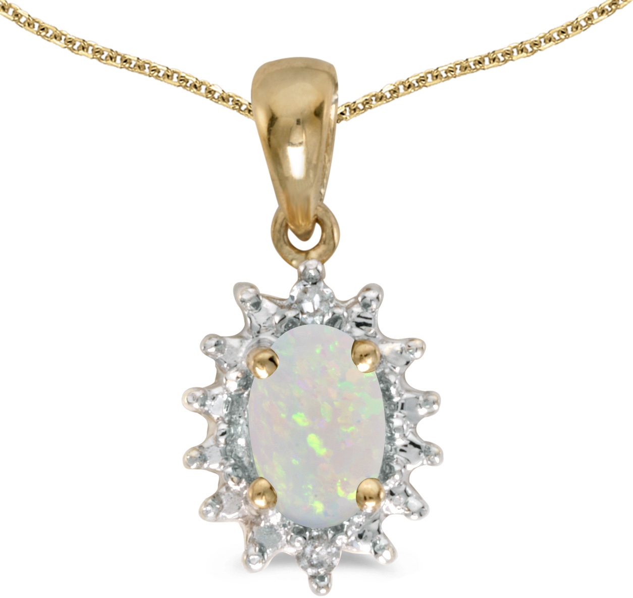 14k Yellow Gold Oval Opal And Diamond Pendant (Chain NOT included) (CM-P1342X-10)