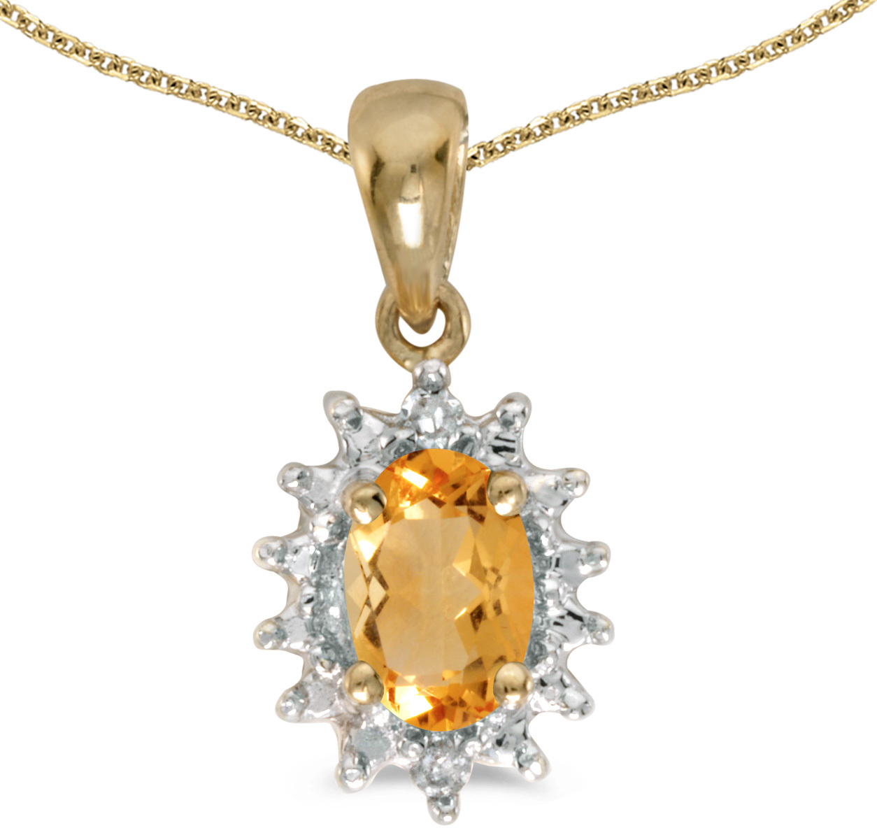14k Yellow Gold Oval Citrine And Diamond Pendant (Chain NOT included) (CM-P1342X-11)