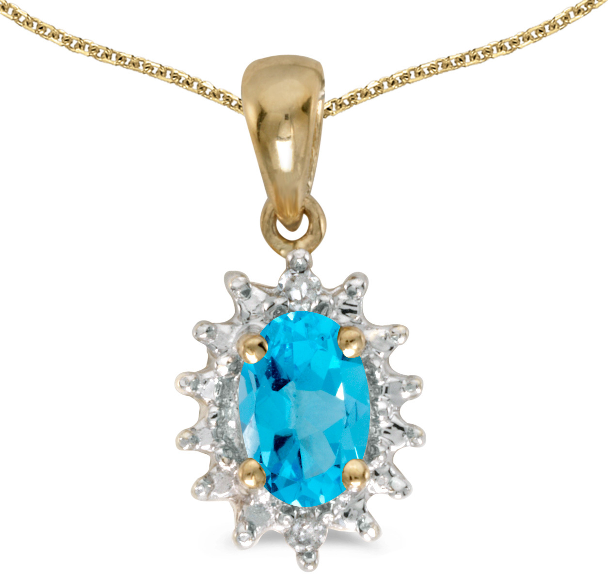 14k Yellow Gold Oval Blue Topaz And Diamond Pendant (Chain NOT included) (CM-P1342X-12)