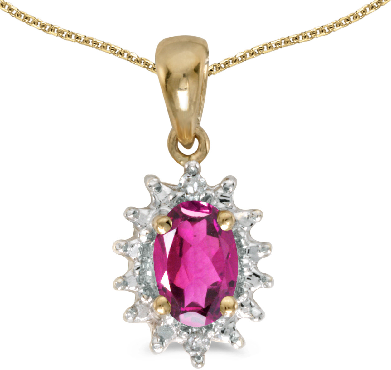 14k Yellow Gold Oval Pink Topaz And Diamond Pendant (Chain NOT included) (CM-P1342X-PT)