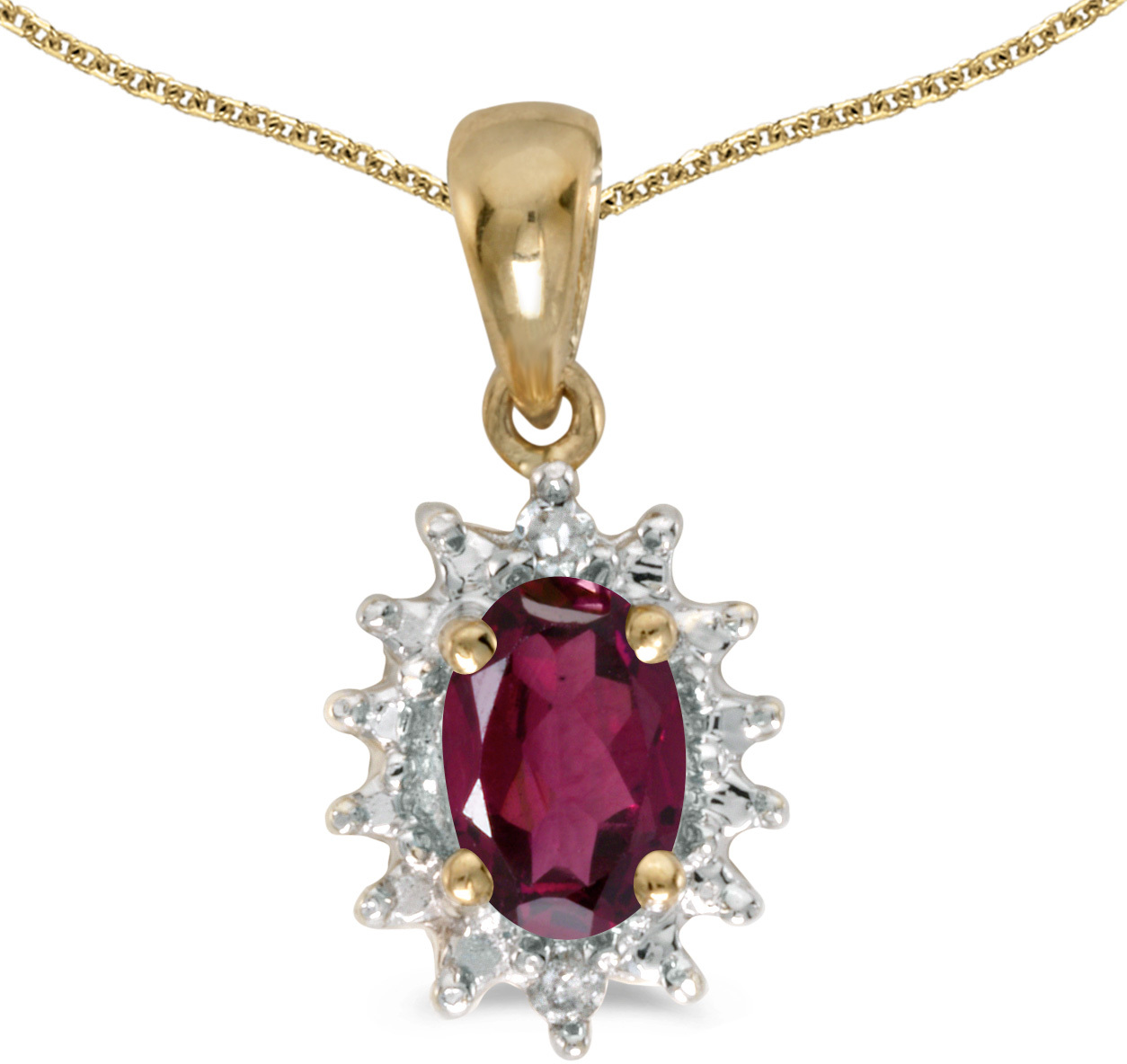 14k Yellow Gold Oval Rhodolite Garnet And Diamond Pendant (Chain NOT included) (CM-P1342X-RG)