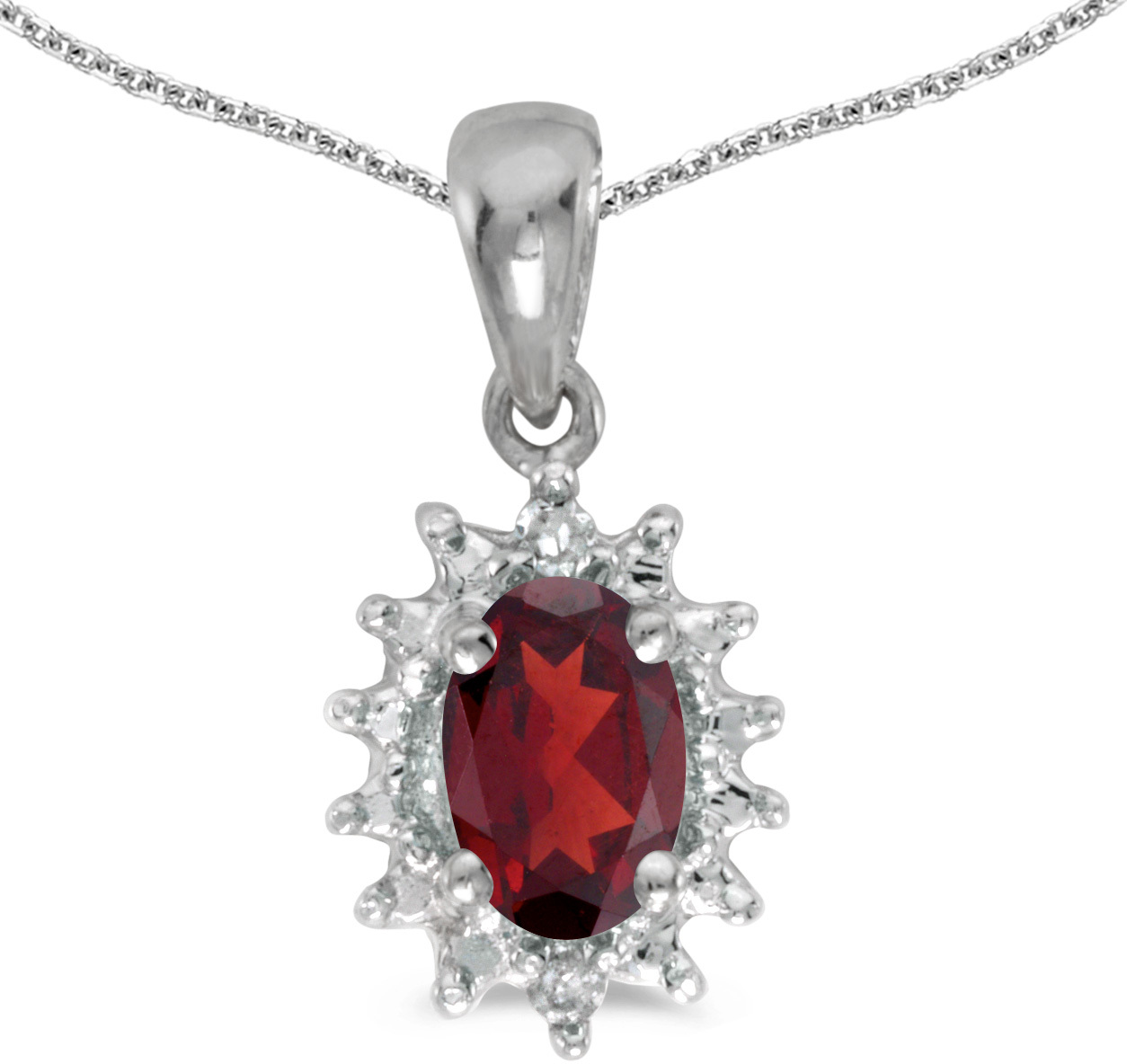 14k White Gold Oval Garnet And Diamond Pendant (Chain NOT included) (CM-P1342XW-01)