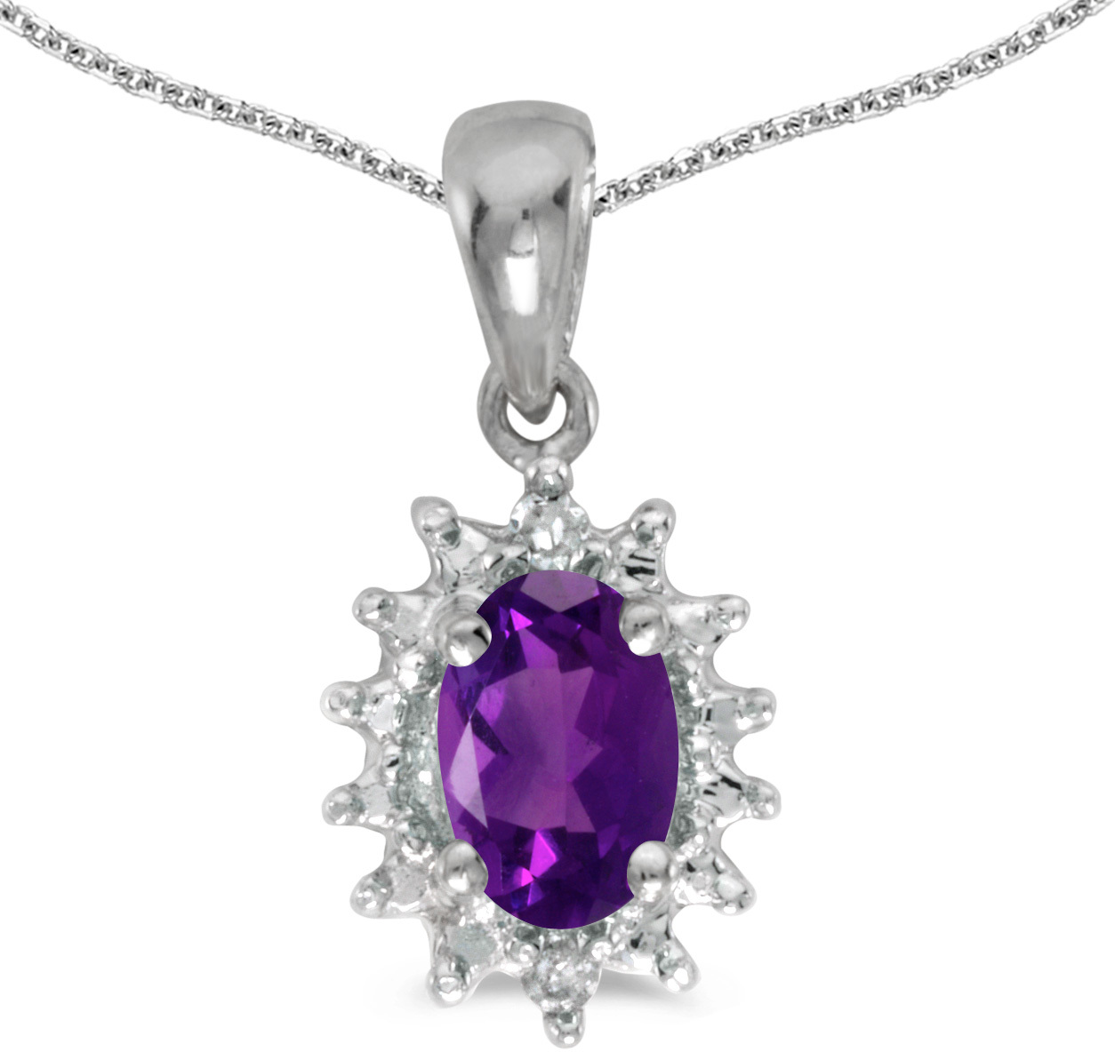 14k White Gold Oval Amethyst And Diamond Pendant (Chain NOT included) (CM-P1342XW-02)