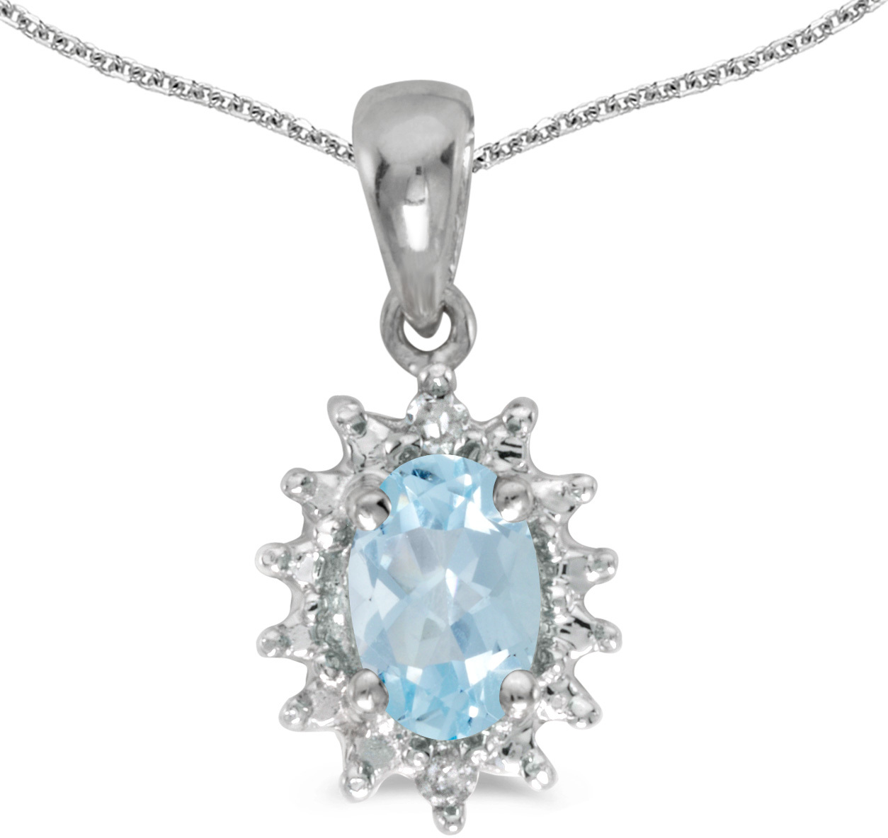 14k White Gold Oval Aquamarine And Diamond Pendant (Chain NOT included) (CM-P1342XW-03)