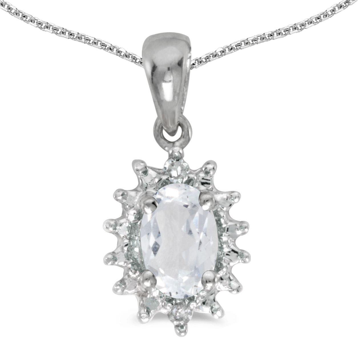14k White Gold Oval White Topaz And Diamond Pendant (Chain NOT included) (CM-P1342XW-04)
