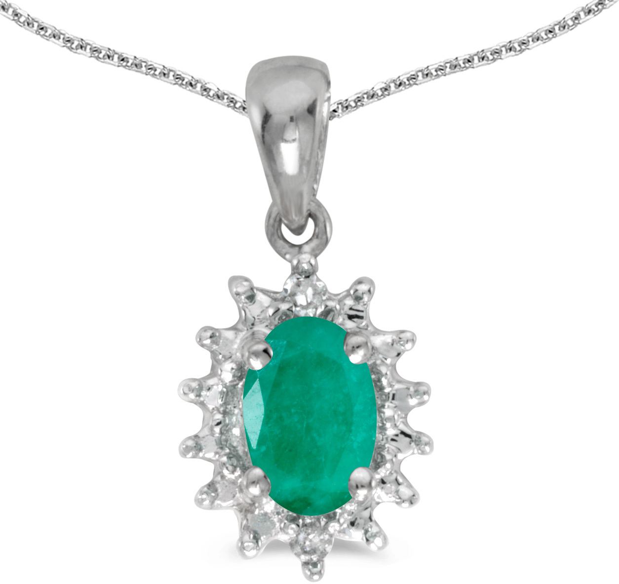 14k White Gold Oval Emerald And Diamond Pendant (Chain NOT included) (CM-P1342XW-05)