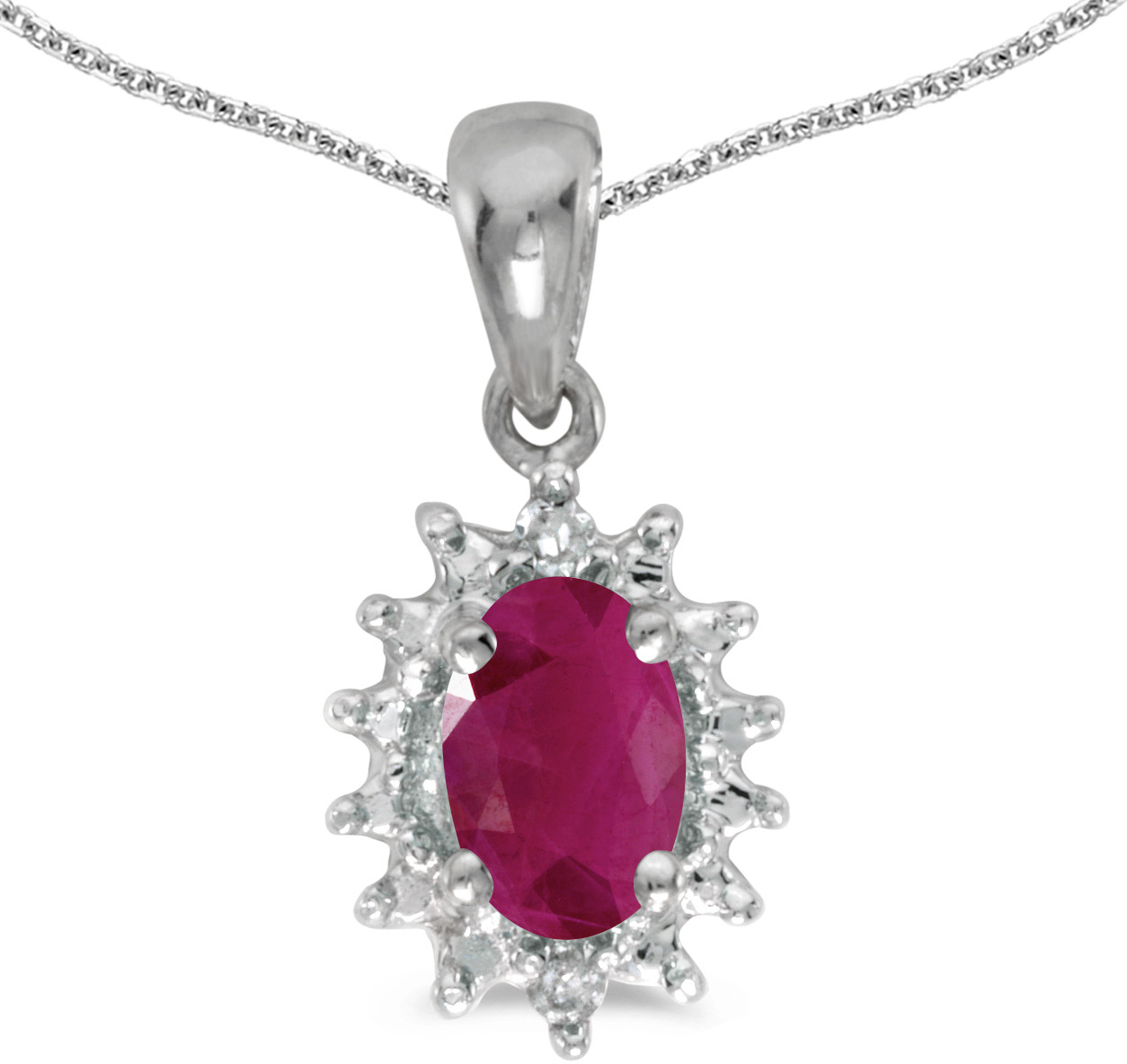 14k White Gold Oval Ruby And Diamond Pendant (Chain NOT included) (CM-P1342XW-07)