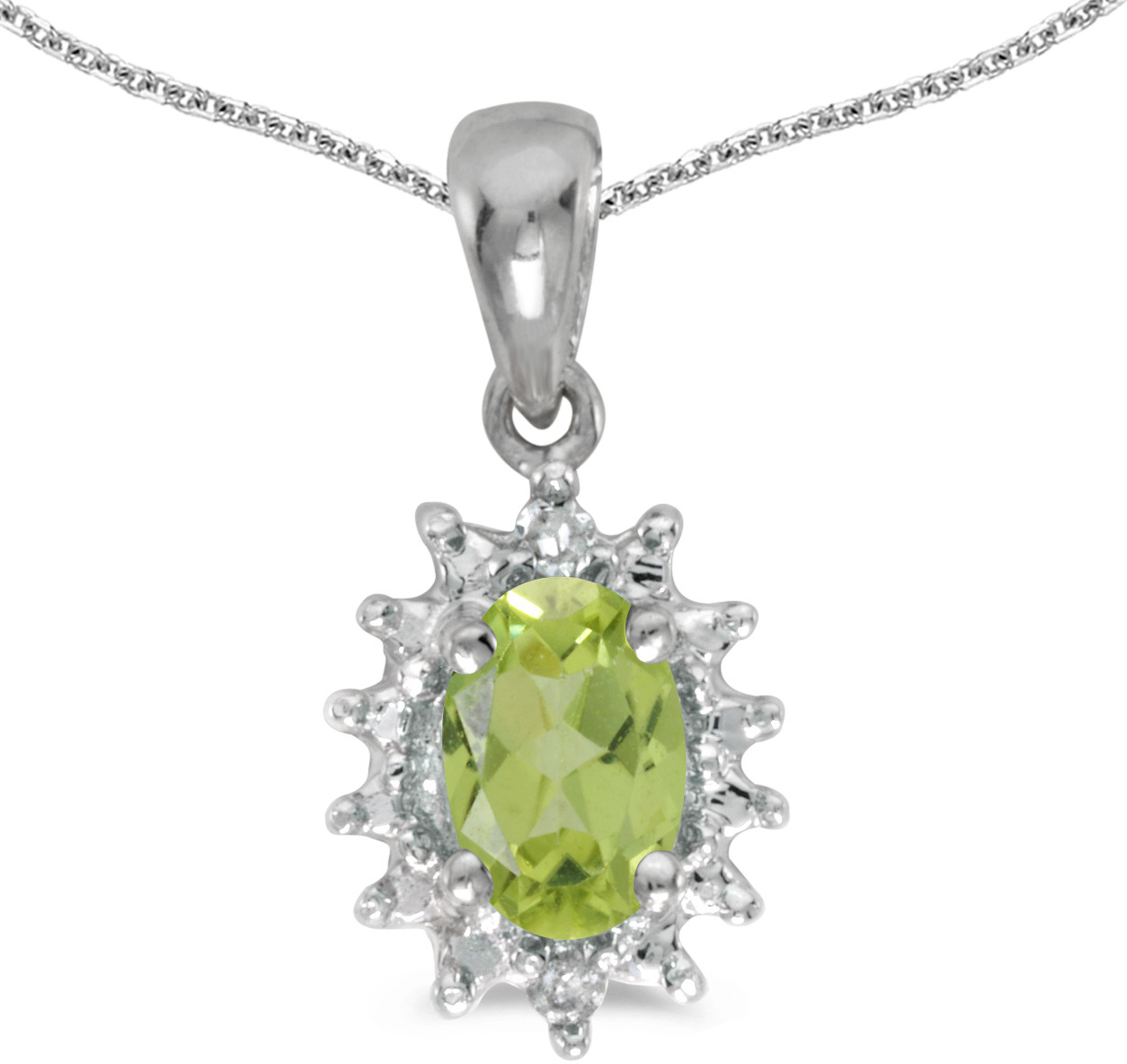 14k White Gold Oval Peridot And Diamond Pendant (Chain NOT included) (CM-P1342XW-08)