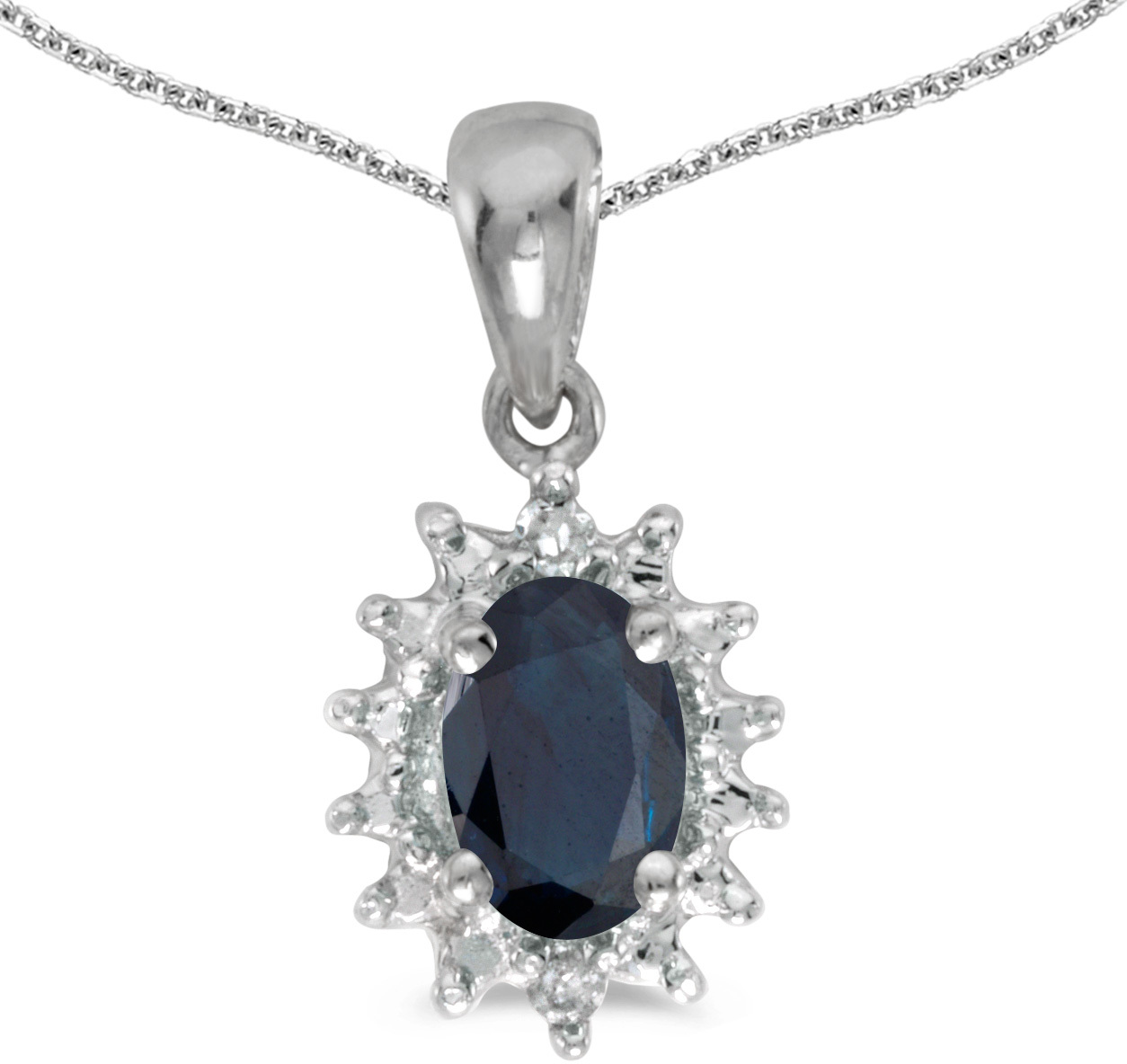 14k White Gold Oval Sapphire And Diamond Pendant (Chain NOT included) (CM-P1342XW-09)