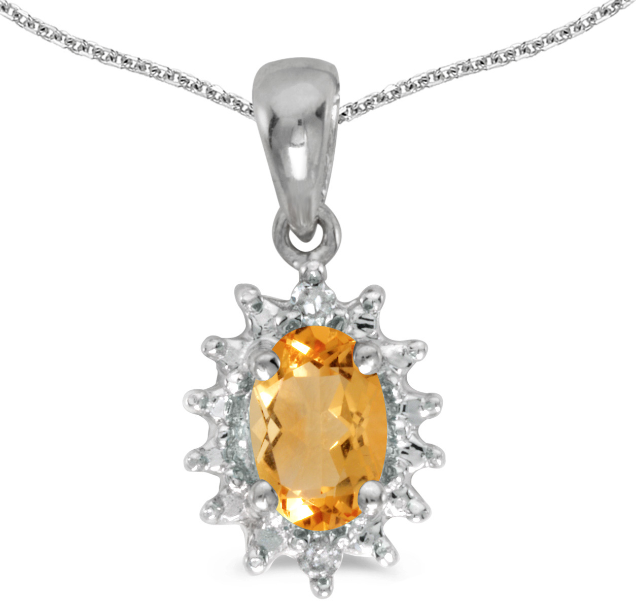 14k White Gold Oval Citrine And Diamond Pendant (Chain NOT included) (CM-P1342XW-11)