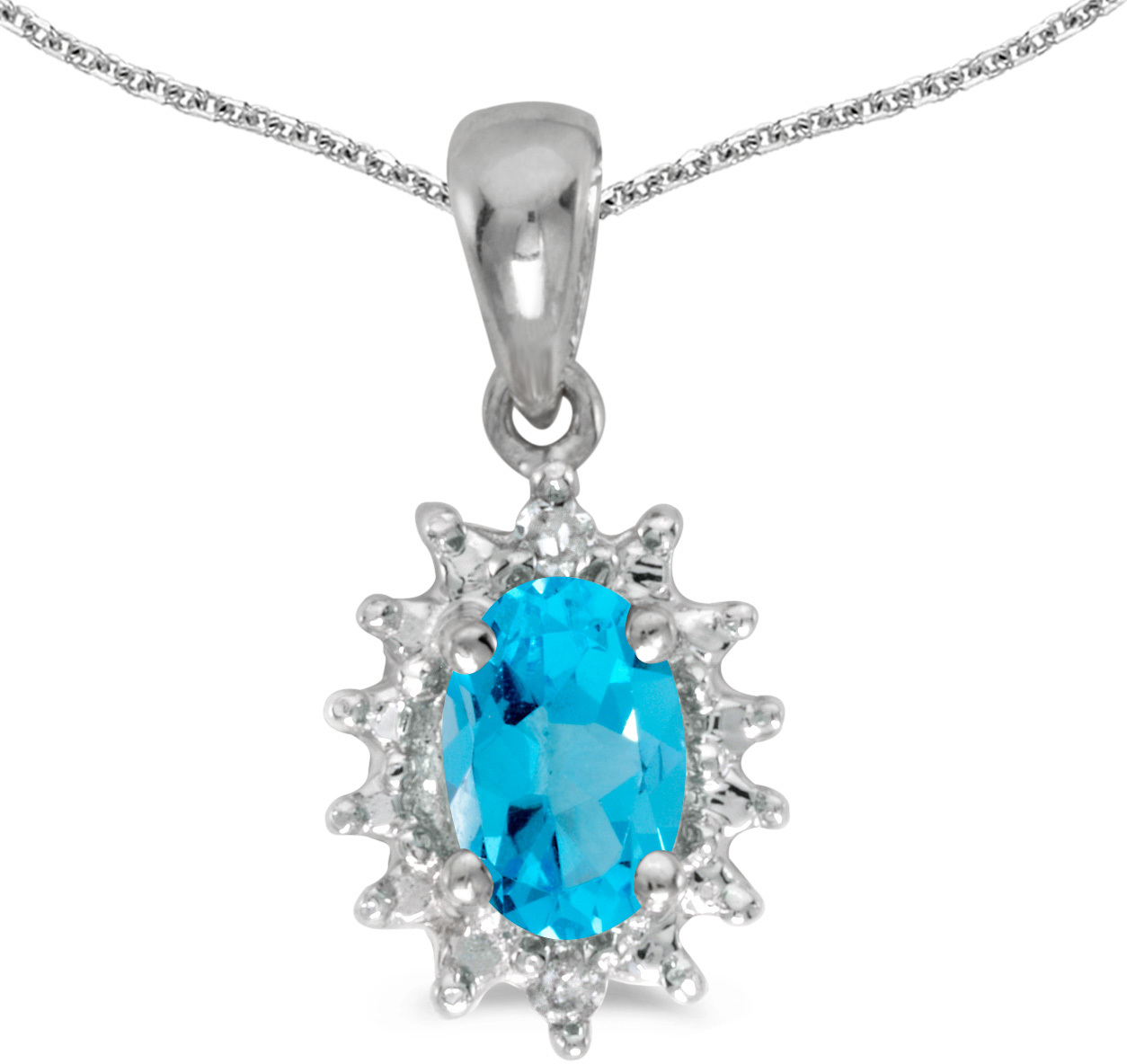 14k White Gold Oval Blue Topaz And Diamond Pendant (Chain NOT included) (CM-P1342XW-12)