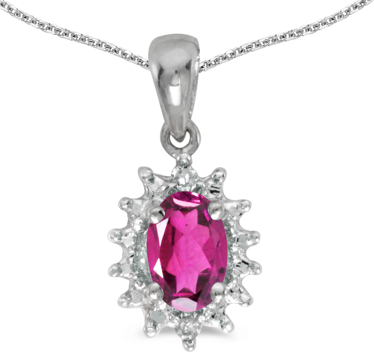 14k White Gold Oval Pink Topaz And Diamond Pendant (Chain NOT included) (CM-P1342XW-PT)