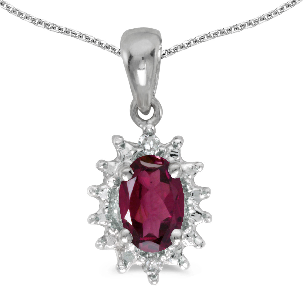 14k White Gold Oval Rhodolite Garnet And Diamond Pendant (Chain NOT included) (CM-P1342XW-RG)