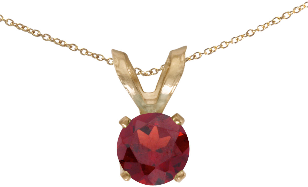 14k Yellow Gold Round Garnet Pendant (Chain NOT included) (CM-P1414X-01)