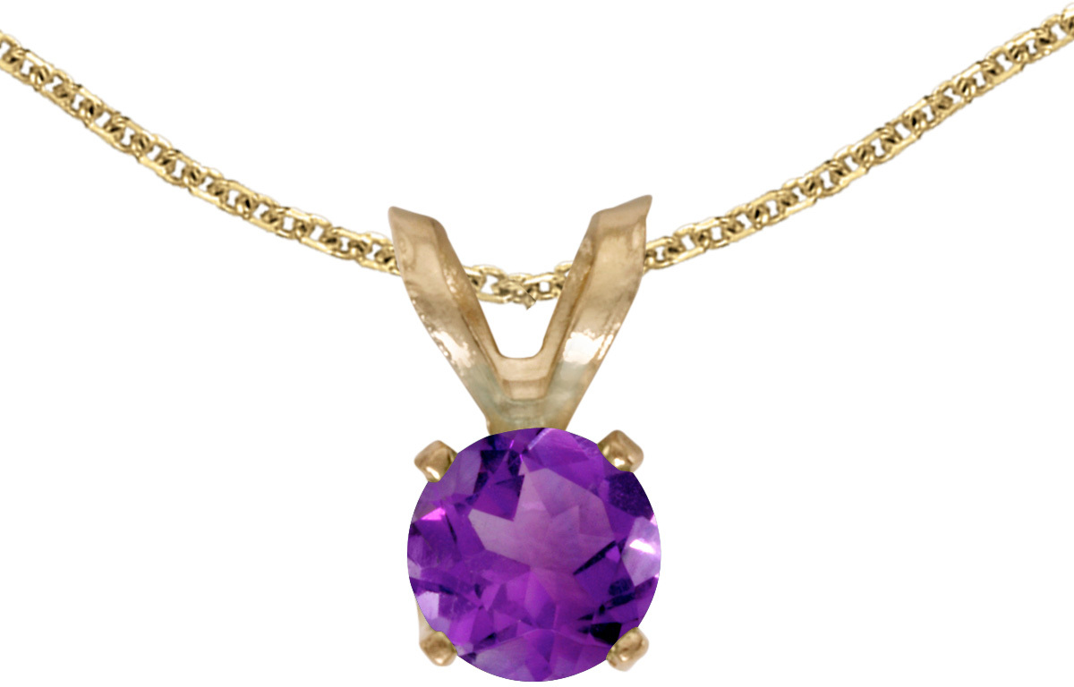 14k Yellow Gold Round Amethyst Pendant (Chain NOT included) (CM-P1414X-02)