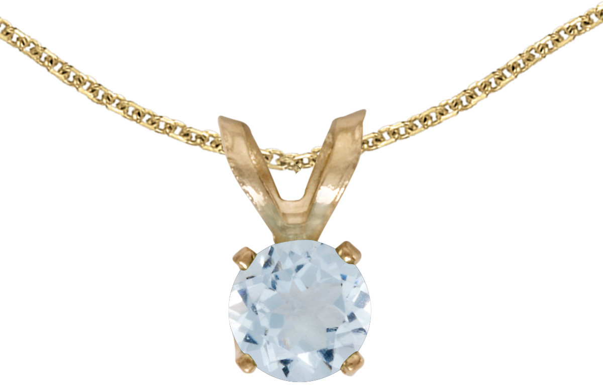 14k Yellow Gold Round Aquamarine Pendant (Chain NOT included) (CM-P1414X-03)