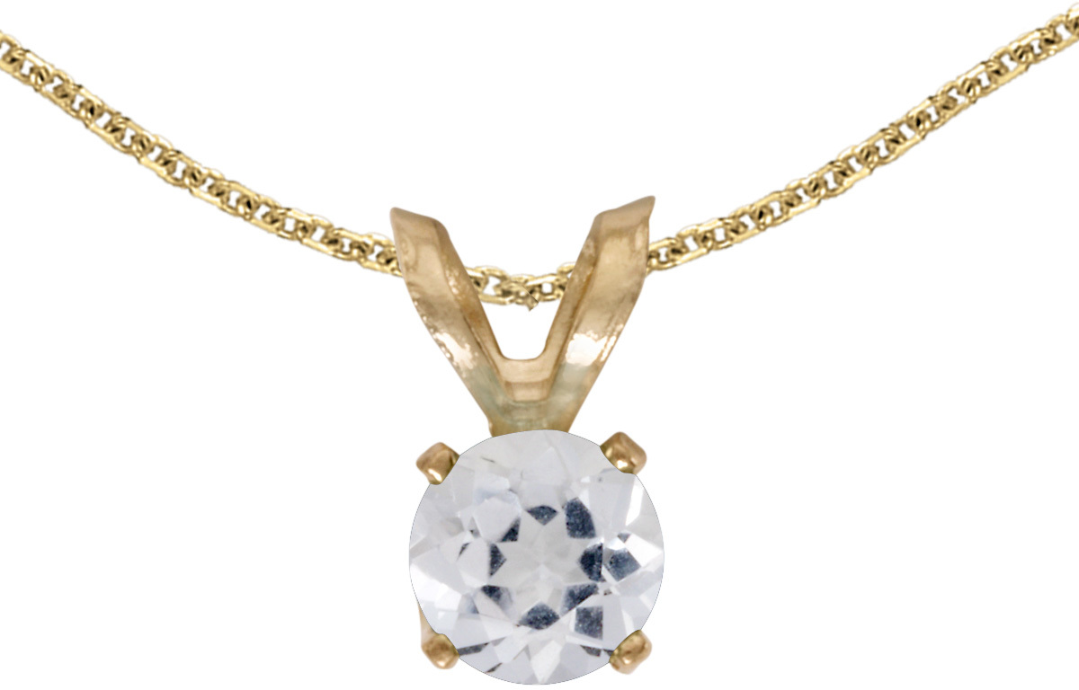 14k Yellow Gold Round White Topaz Pendant (Chain NOT included) (CM-P1414X-04)