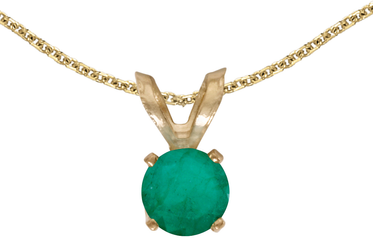 14k Yellow Gold Round Emerald Pendant (Chain NOT included) (CM-P1414X-05)