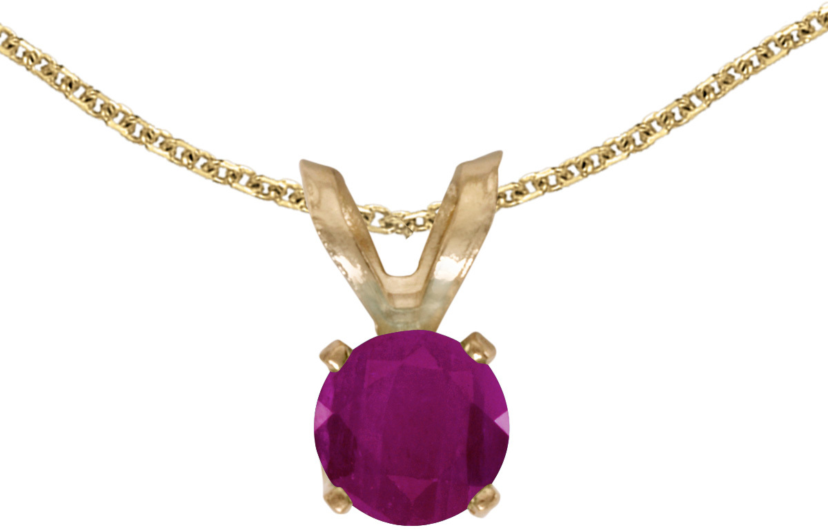 14k Yellow Gold Round Ruby Pendant (Chain NOT included) (CM-P1414X-07)