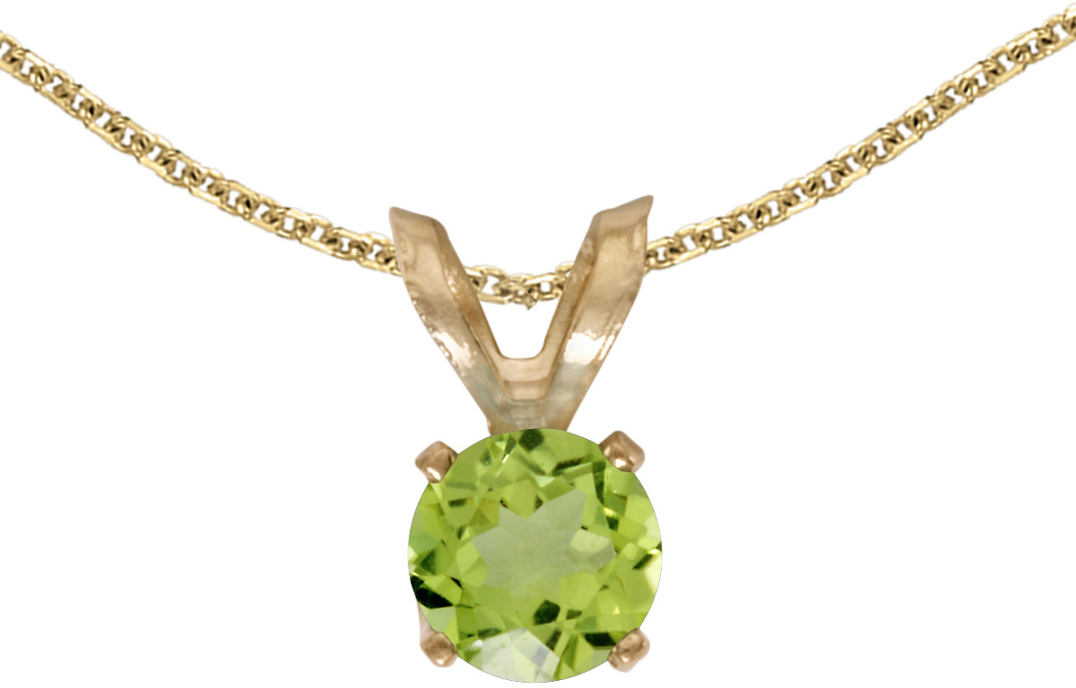 14k Yellow Gold Round Peridot Pendant (Chain NOT included) (CM-P1414X-08)