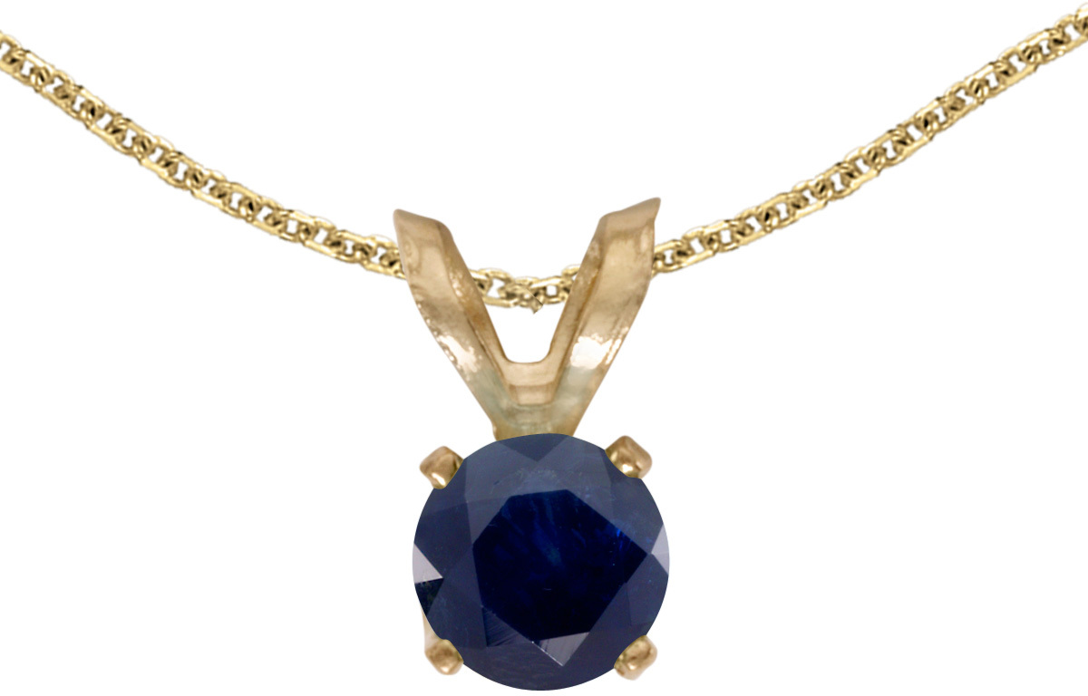 14k Yellow Gold Round Sapphire Pendant (Chain NOT included) (CM-P1414X-09)