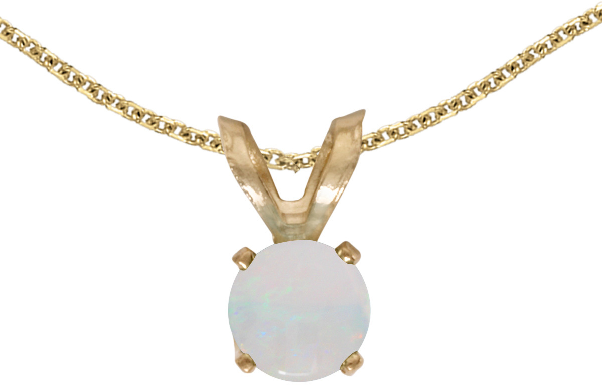 14k Yellow Gold Round Opal Pendant (Chain NOT included) (CM-P1414X-10)